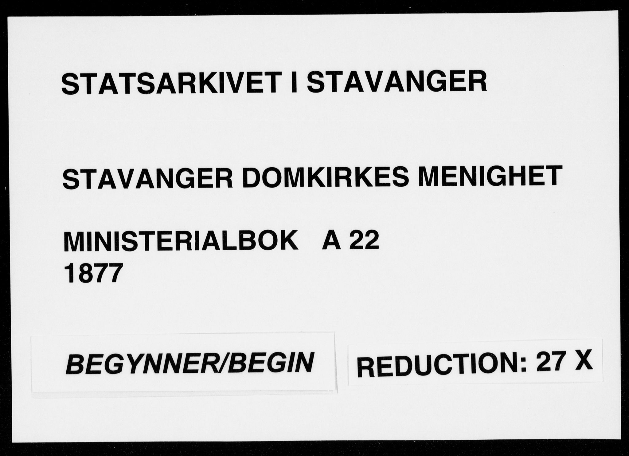 SAST, Domkirken sokneprestkontor, 30/30BA/L0023: Ministerialbok nr. A 22, 1877-1877