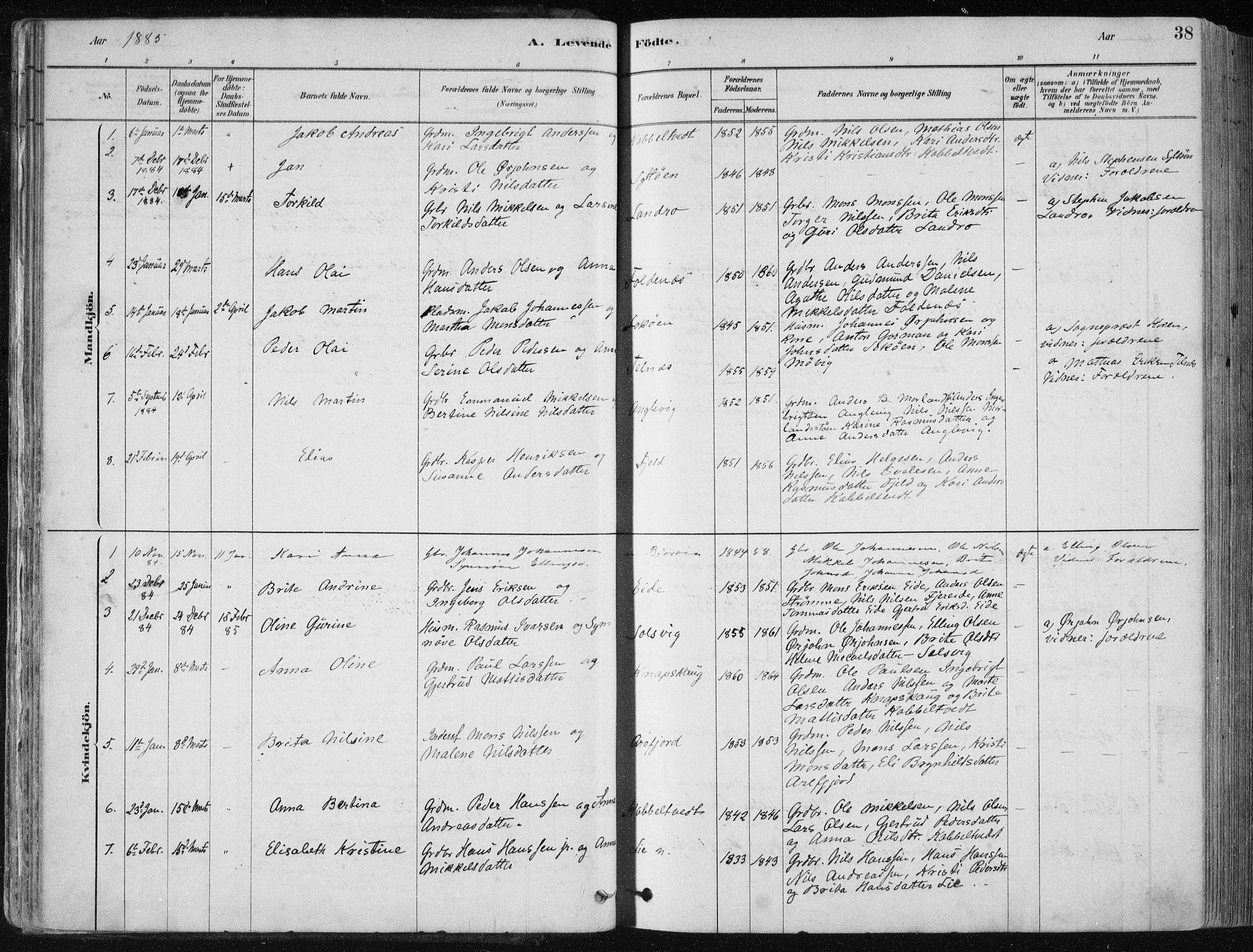 SAB, Fjell Sokneprestembete, H/Haa: Ministerialbok nr. A  8, 1878-1898, s. 38