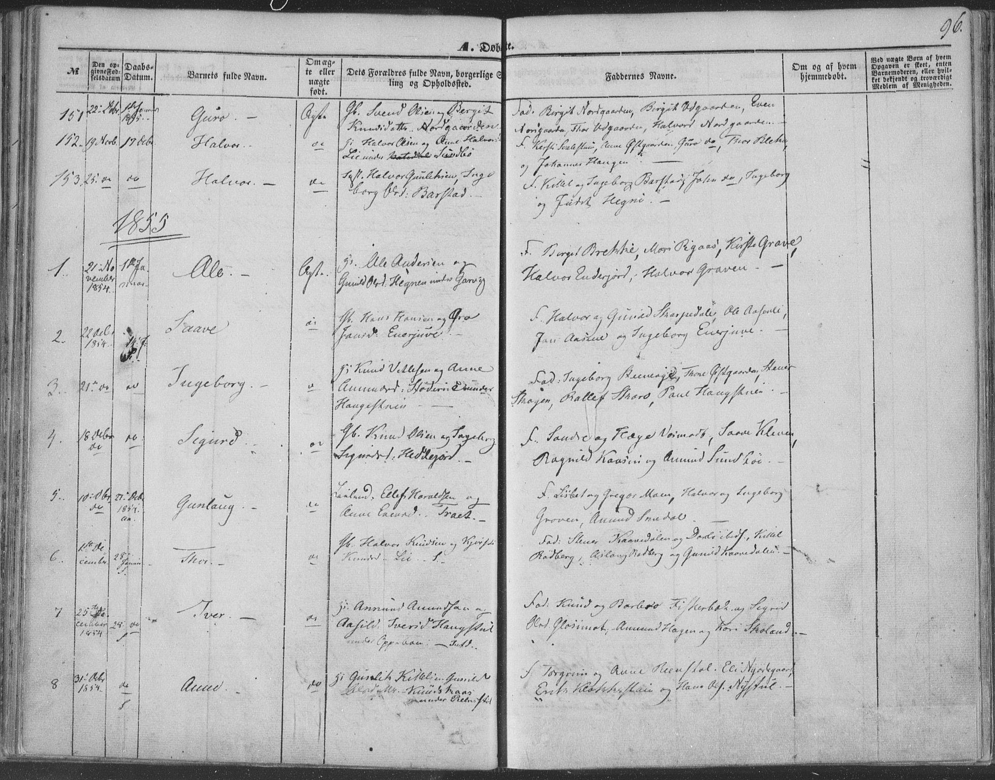 SAKO, Seljord kirkebøker, F/Fa/L012a: Ministerialbok nr. I 12A, 1850-1865, s. 96