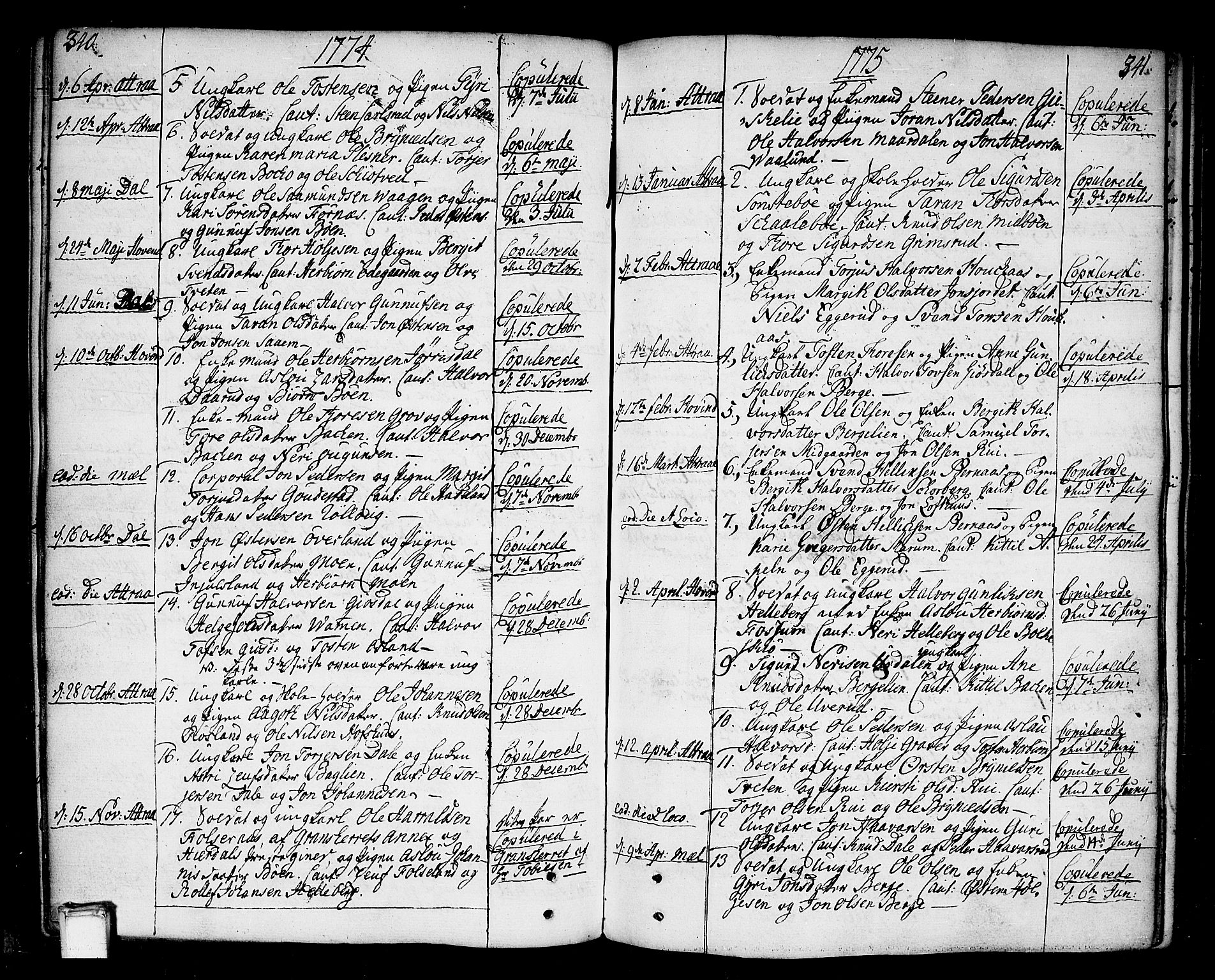 SAKO, Tinn kirkebøker, F/Fa/L0002: Ministerialbok nr. I 2, 1757-1810, s. 340-341