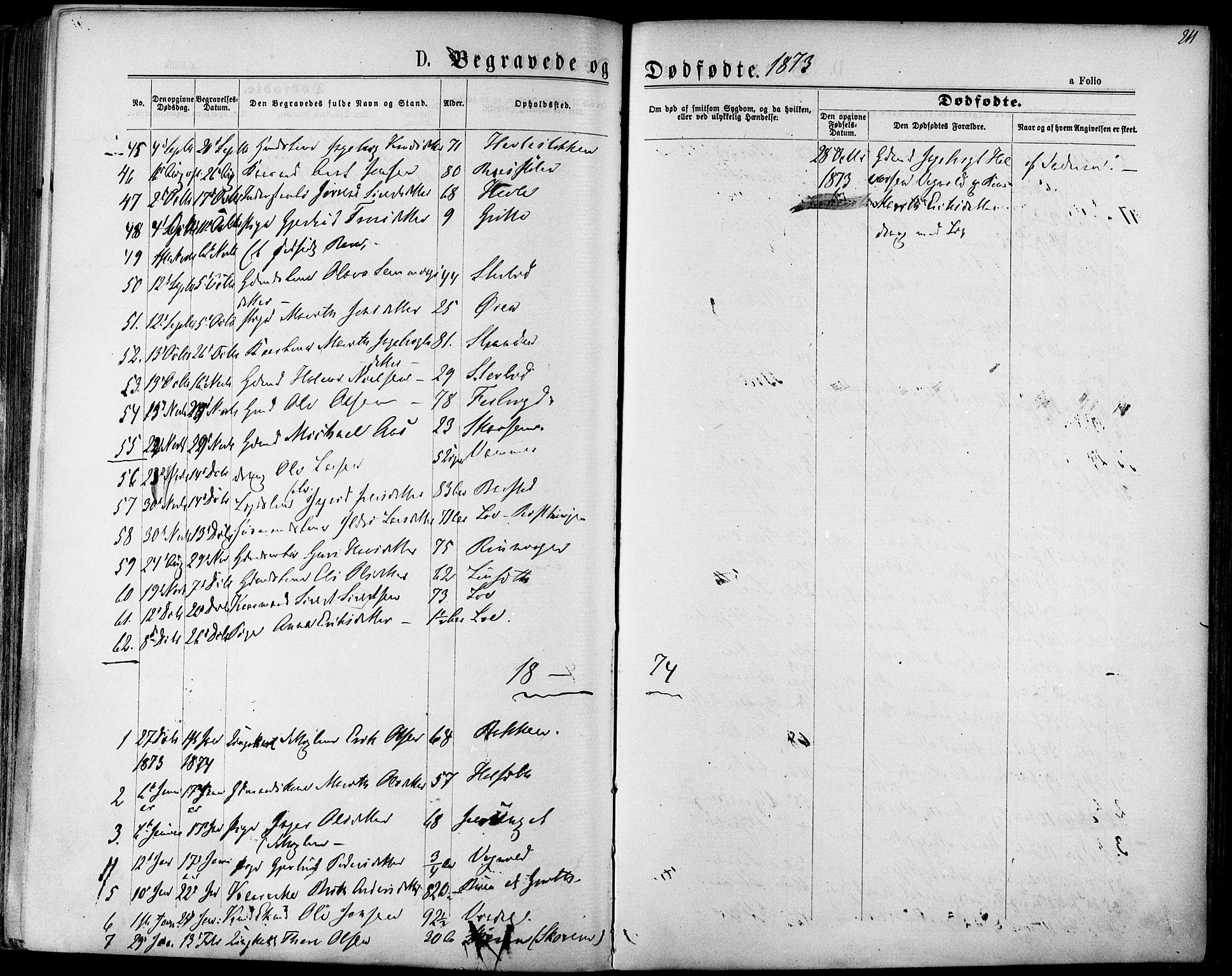 SAT, Ministerialprotokoller, klokkerbøker og fødselsregistre - Sør-Trøndelag, 678/L0900: Ministerialbok nr. 678A09, 1872-1881, s. 211