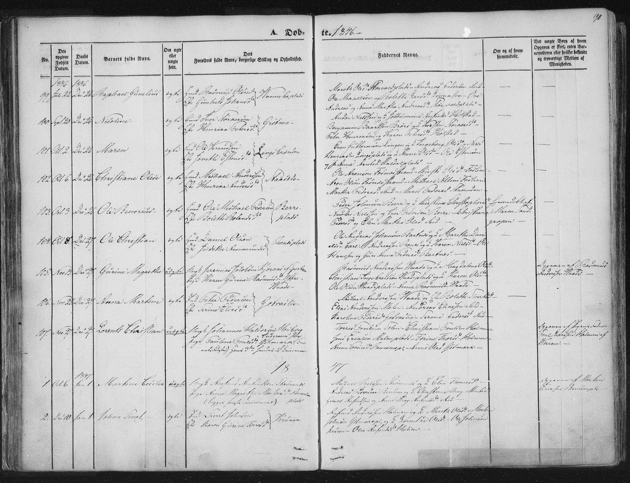 SAT, Ministerialprotokoller, klokkerbøker og fødselsregistre - Nord-Trøndelag, 741/L0392: Ministerialbok nr. 741A06, 1836-1848, s. 90