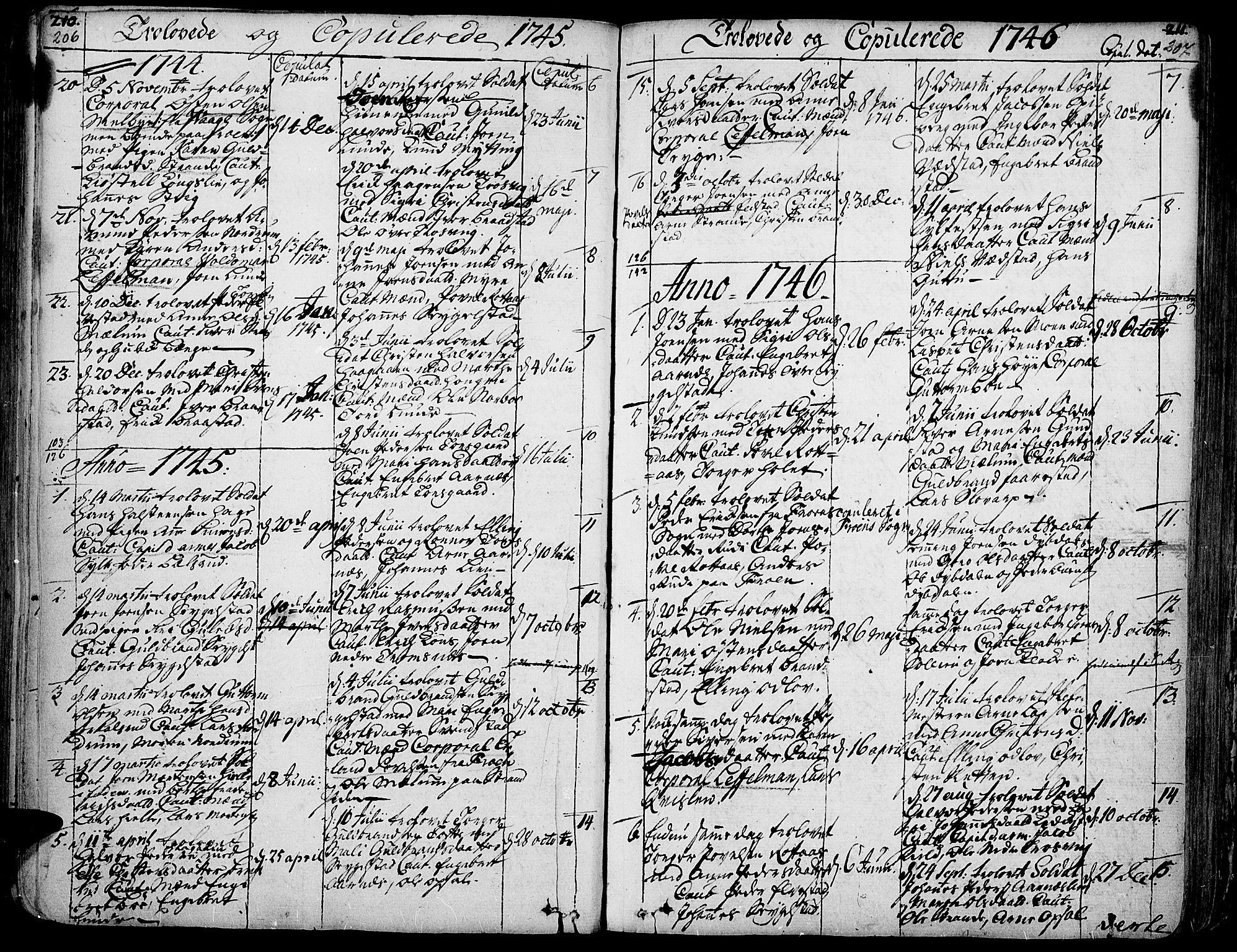 SAH, Ringebu prestekontor, Ministerialbok nr. 2, 1734-1780, s. 206-207