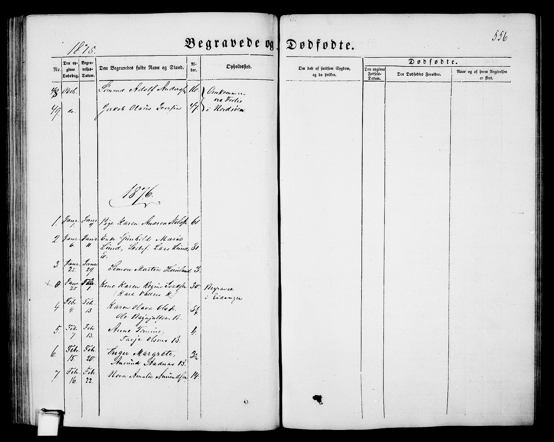 SAKO, Porsgrunn kirkebøker , G/Gb/L0004: Klokkerbok nr. II 4, 1853-1882, s. 556