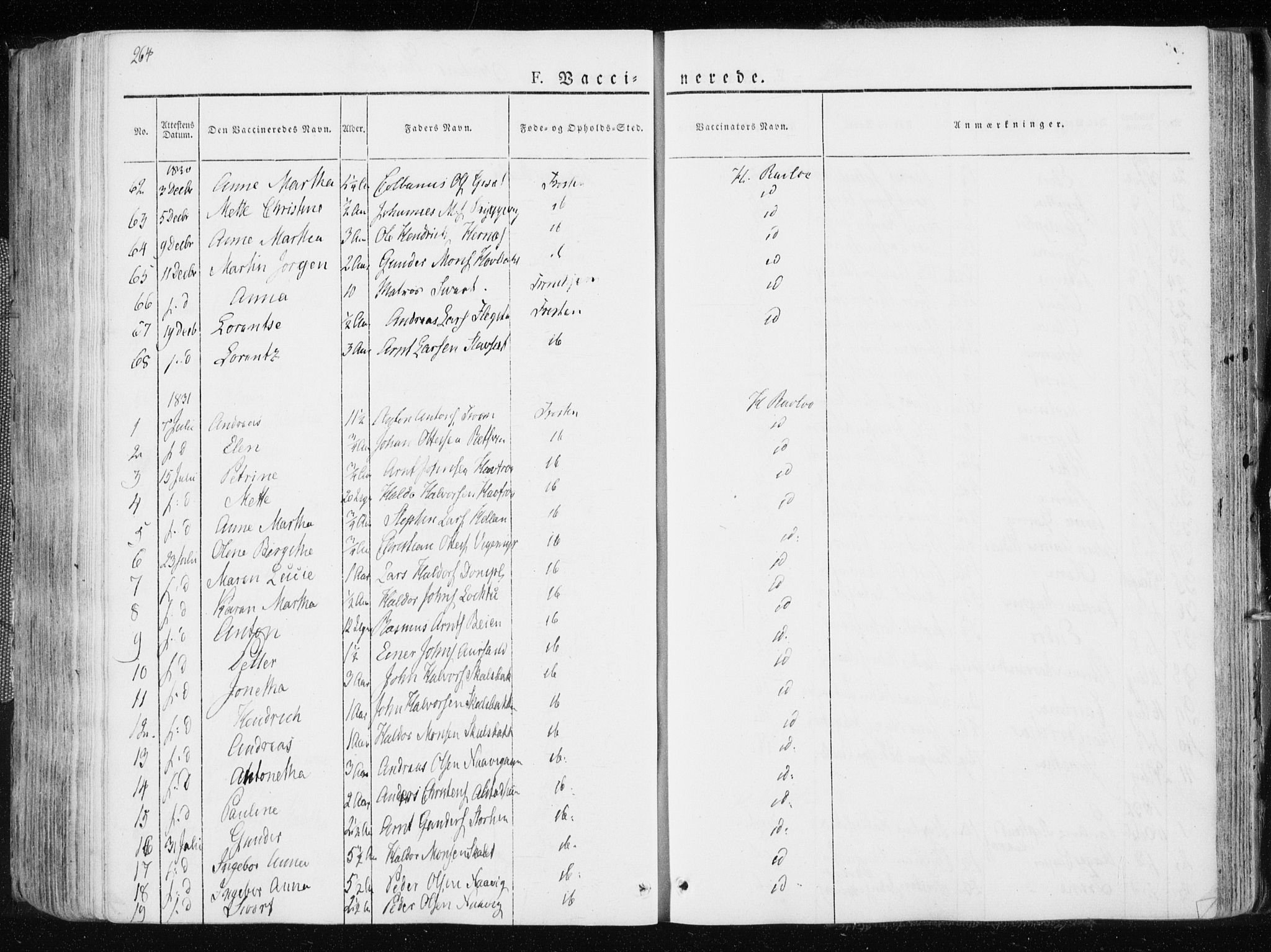 SAT, Ministerialprotokoller, klokkerbøker og fødselsregistre - Nord-Trøndelag, 713/L0114: Ministerialbok nr. 713A05, 1827-1839, s. 264