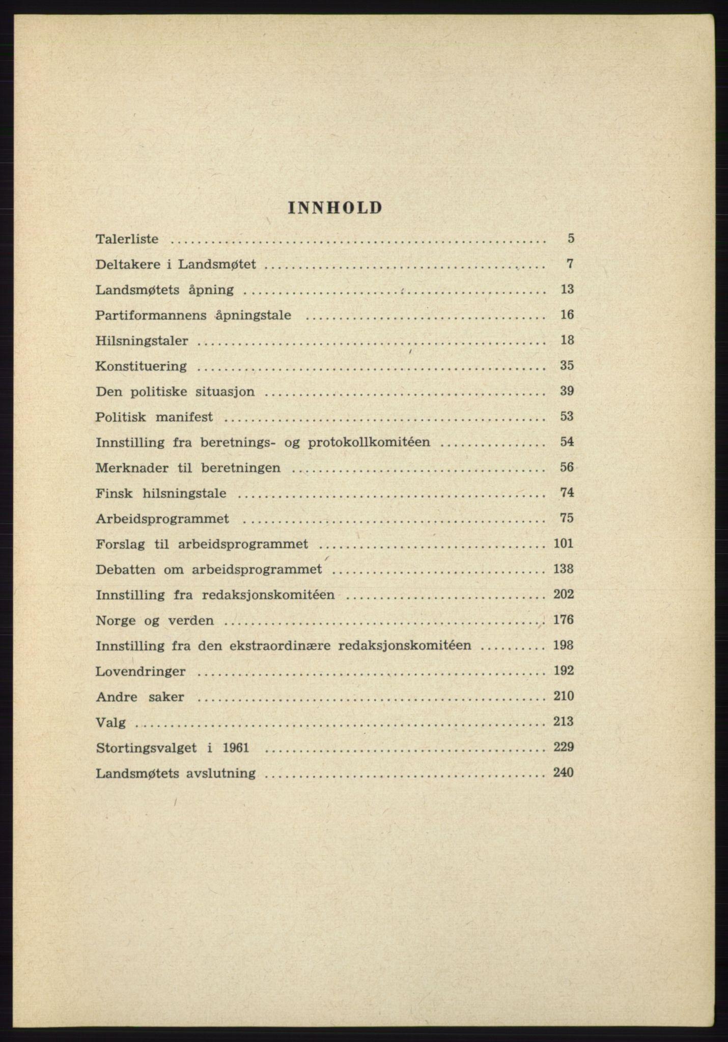 AAB, Det norske Arbeiderparti - publikasjoner, -/-: Protokoll over forhandlingene på det 38. ordinære landsmøte 9.-11. april 1961 i Oslo, 1961
