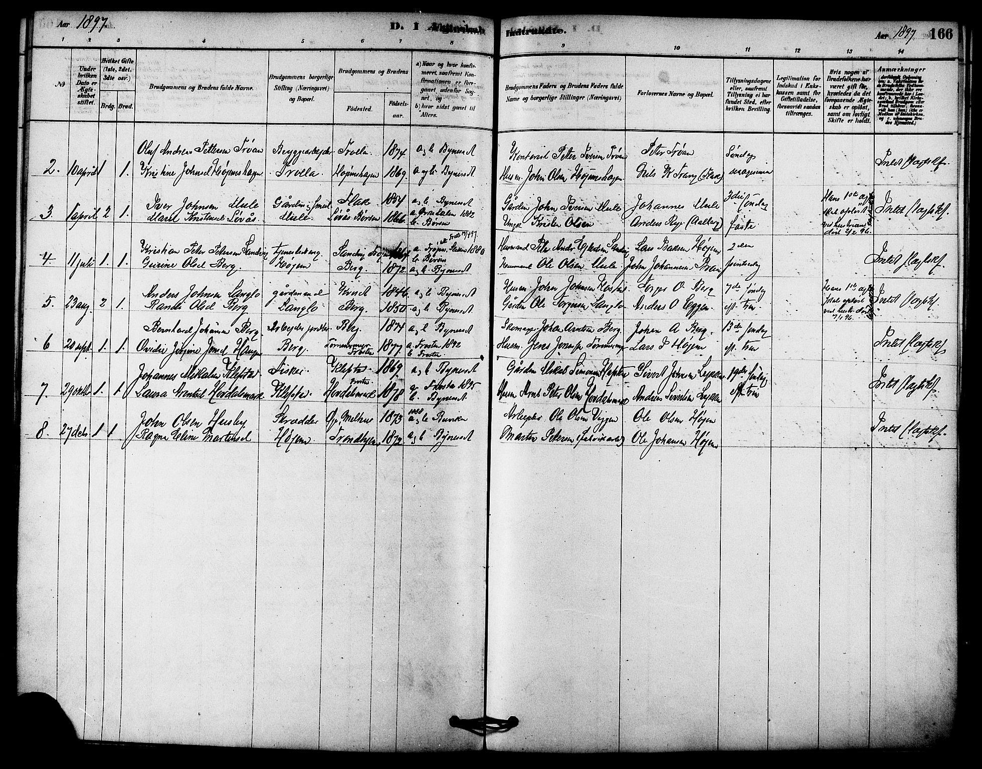 SAT, Ministerialprotokoller, klokkerbøker og fødselsregistre - Sør-Trøndelag, 612/L0378: Ministerialbok nr. 612A10, 1878-1897, s. 166
