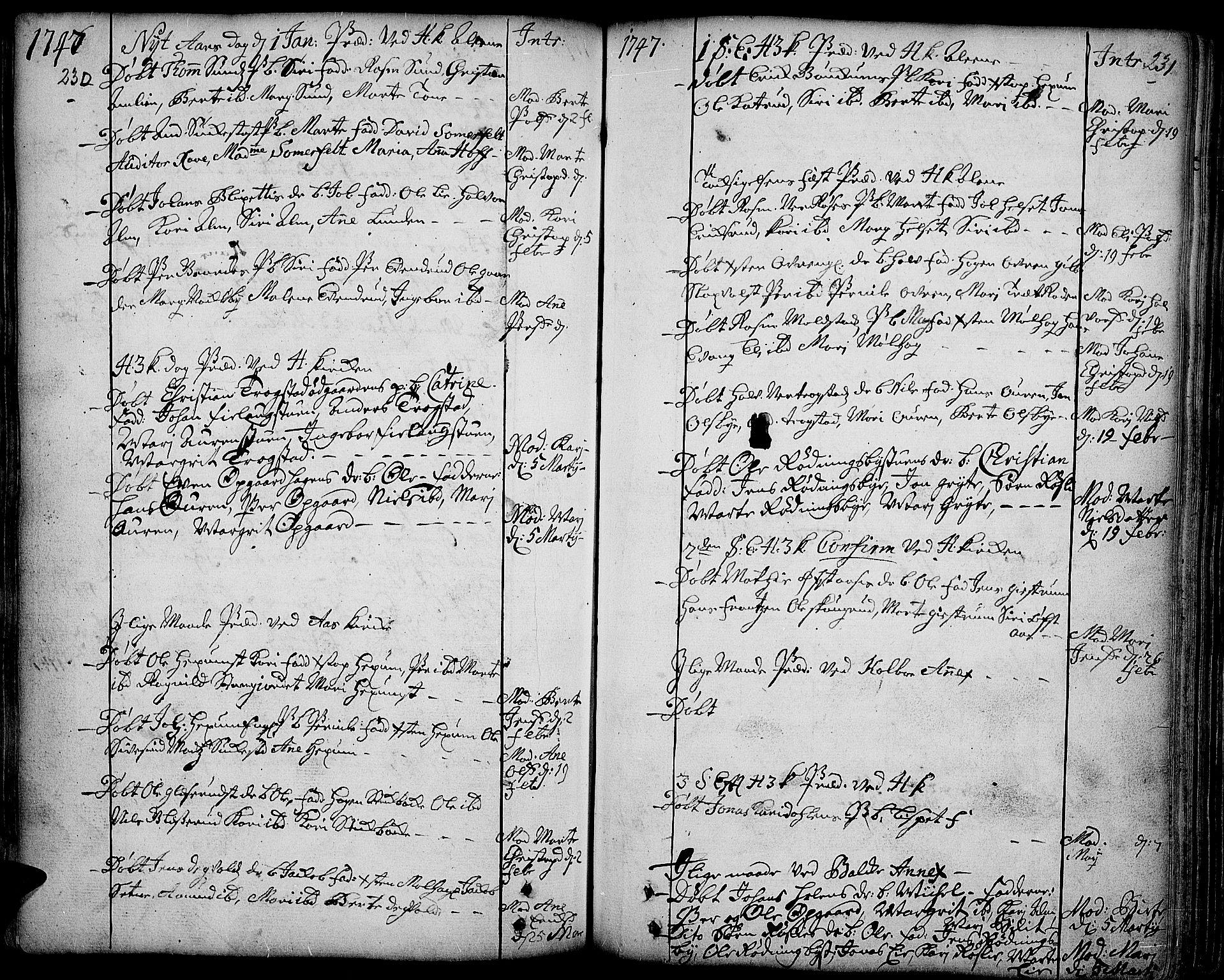 SAH, Toten prestekontor, Ministerialbok nr. 3, 1734-1751, s. 230-231