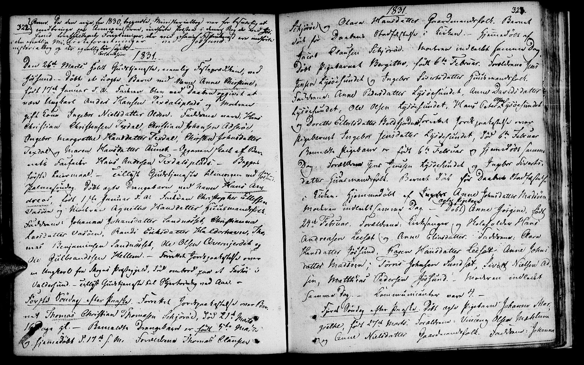 SAT, Ministerialprotokoller, klokkerbøker og fødselsregistre - Sør-Trøndelag, 655/L0674: Ministerialbok nr. 655A03, 1802-1826, s. 322-323