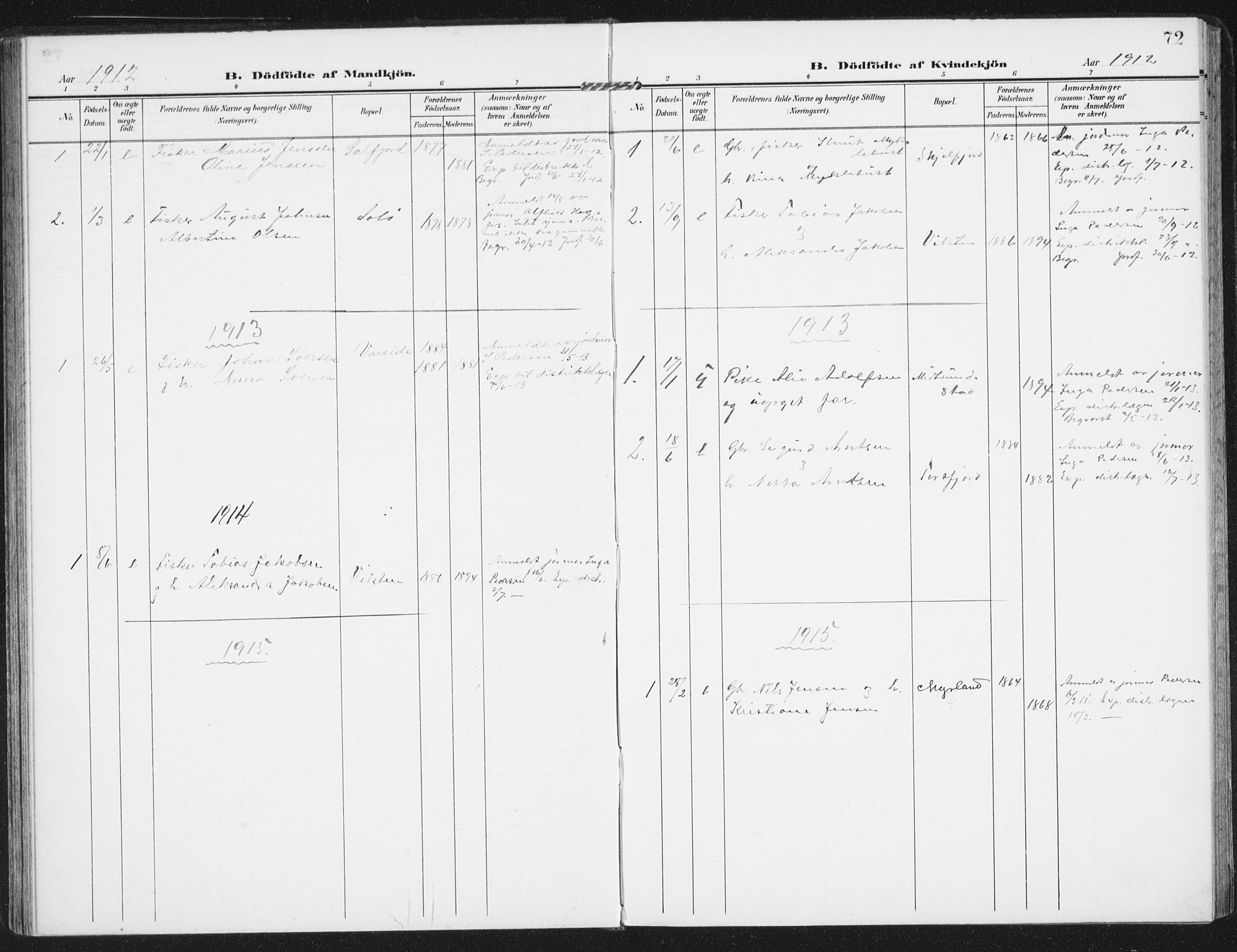 SAT, Ministerialprotokoller, klokkerbøker og fødselsregistre - Nordland, 885/L1206: Ministerialbok nr. 885A07, 1905-1915, s. 72