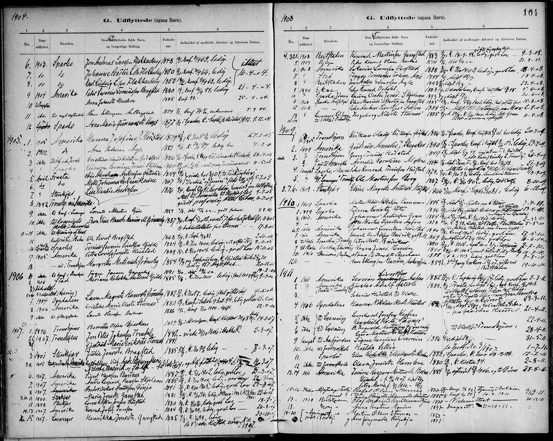 SAT, Ministerialprotokoller, klokkerbøker og fødselsregistre - Nord-Trøndelag, 732/L0316: Ministerialbok nr. 732A01, 1879-1921, s. 164