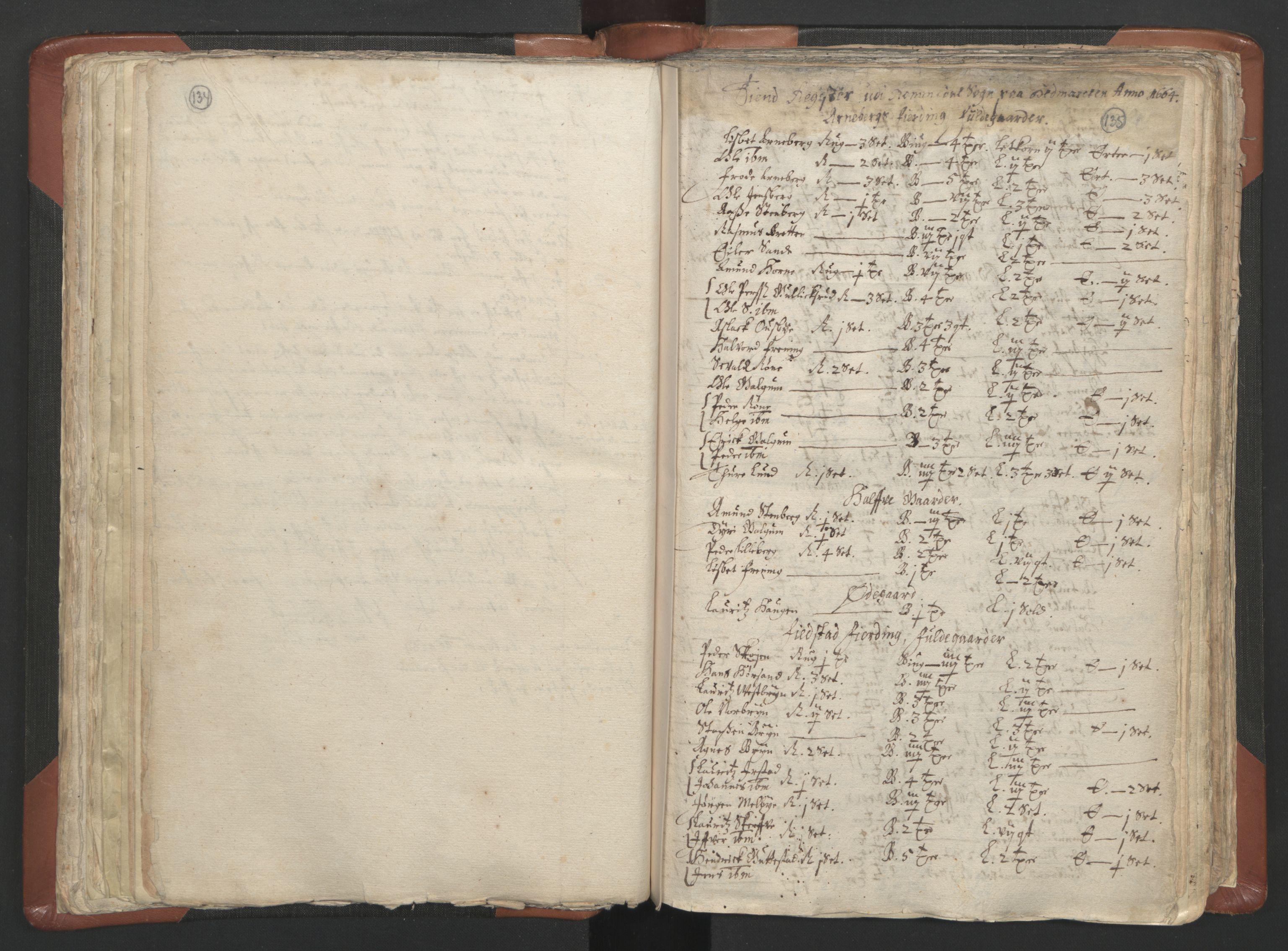 RA, Sogneprestenes manntall 1664-1666, nr. 5: Hedmark prosti, 1664-1666, s. 134-135