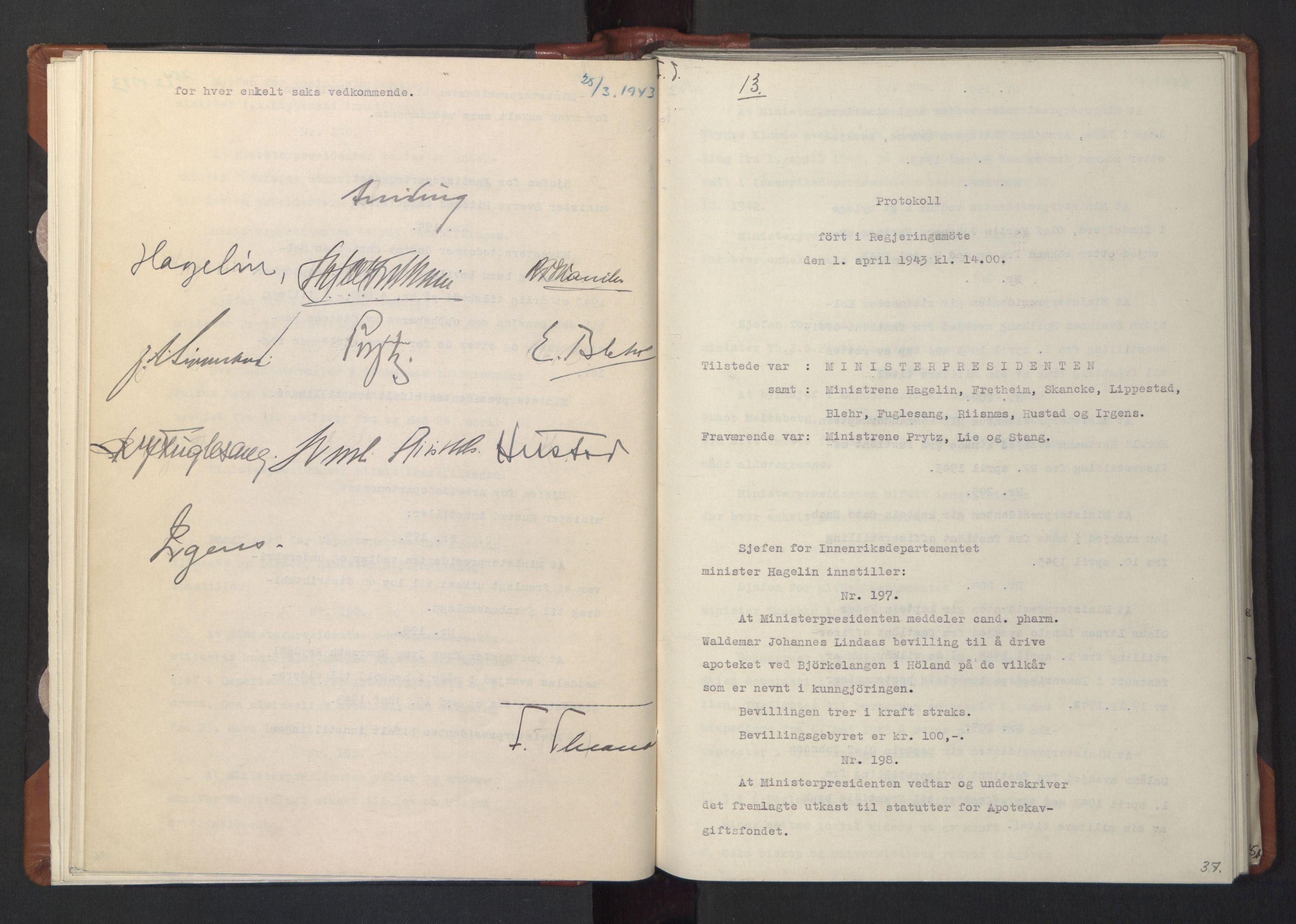 RA, NS-administrasjonen 1940-1945 (Statsrådsekretariatet, de kommisariske statsråder mm), D/Da/L0003: Vedtak (Beslutninger) nr. 1-746 og tillegg nr. 1-47 (RA. j.nr. 1394/1944, tilgangsnr. 8/1944, 1943, s. 36b-37a