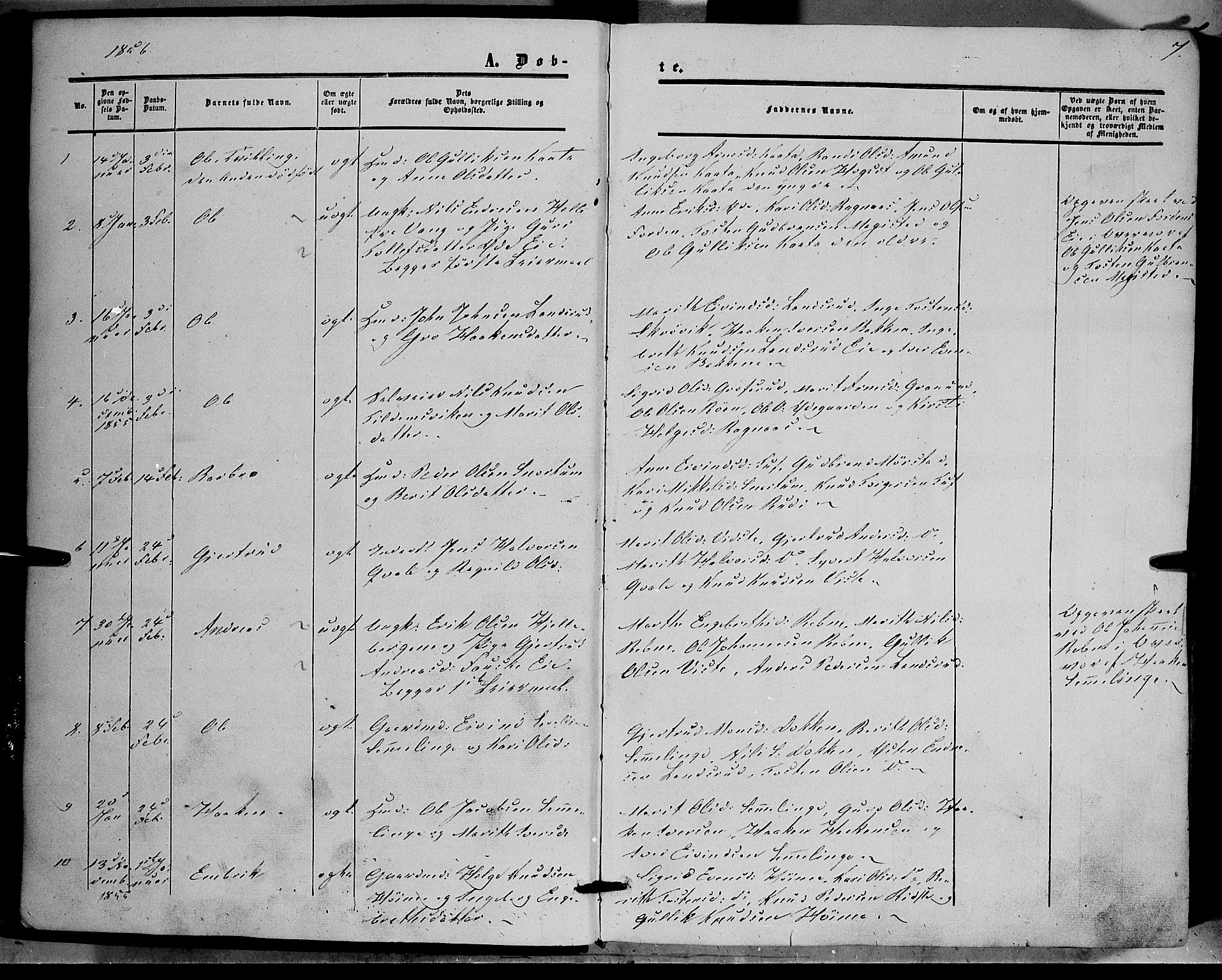 SAH, Vestre Slidre prestekontor, Ministerialbok nr. 2, 1856-1864, s. 7