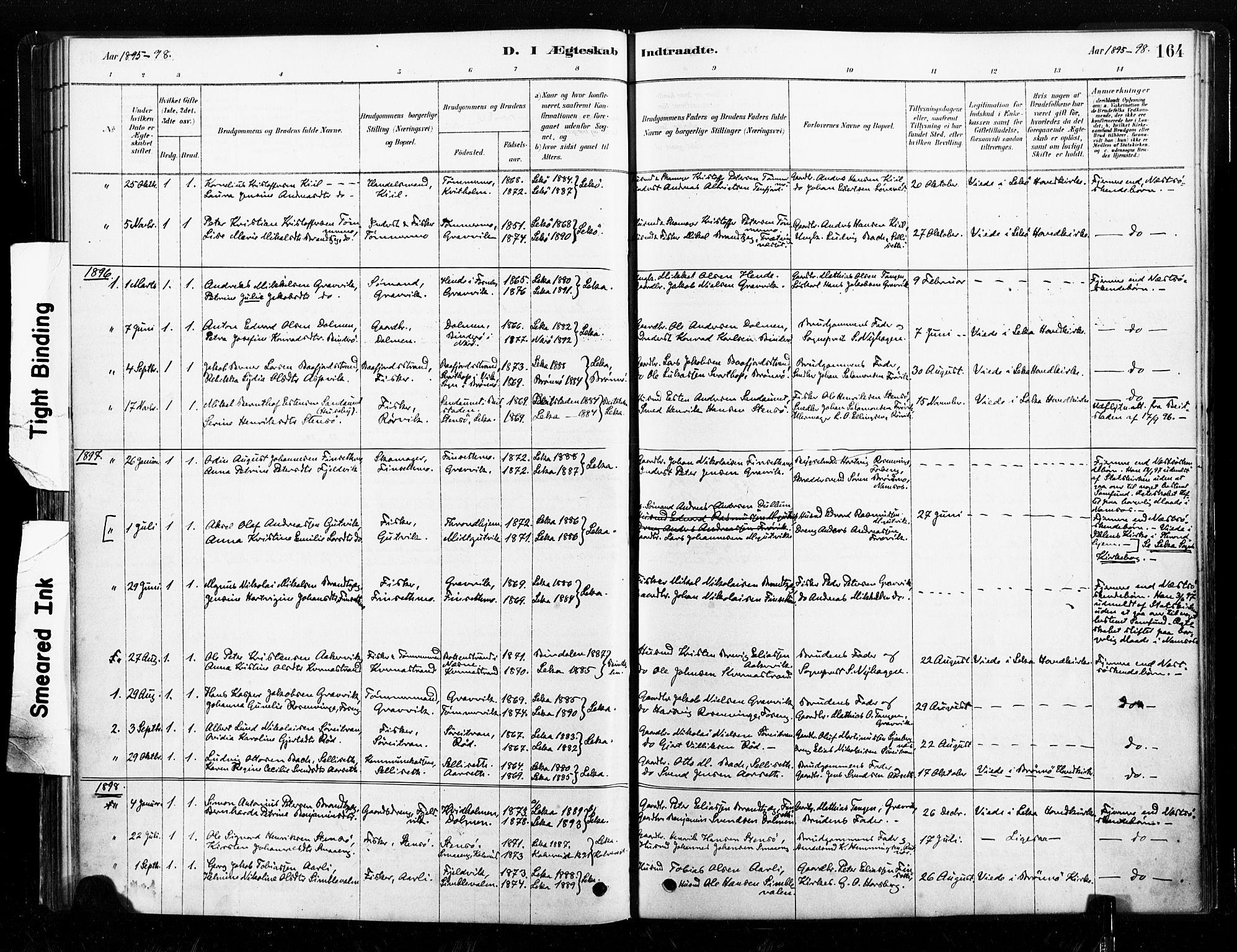 SAT, Ministerialprotokoller, klokkerbøker og fødselsregistre - Nord-Trøndelag, 789/L0705: Ministerialbok nr. 789A01, 1878-1910, s. 164