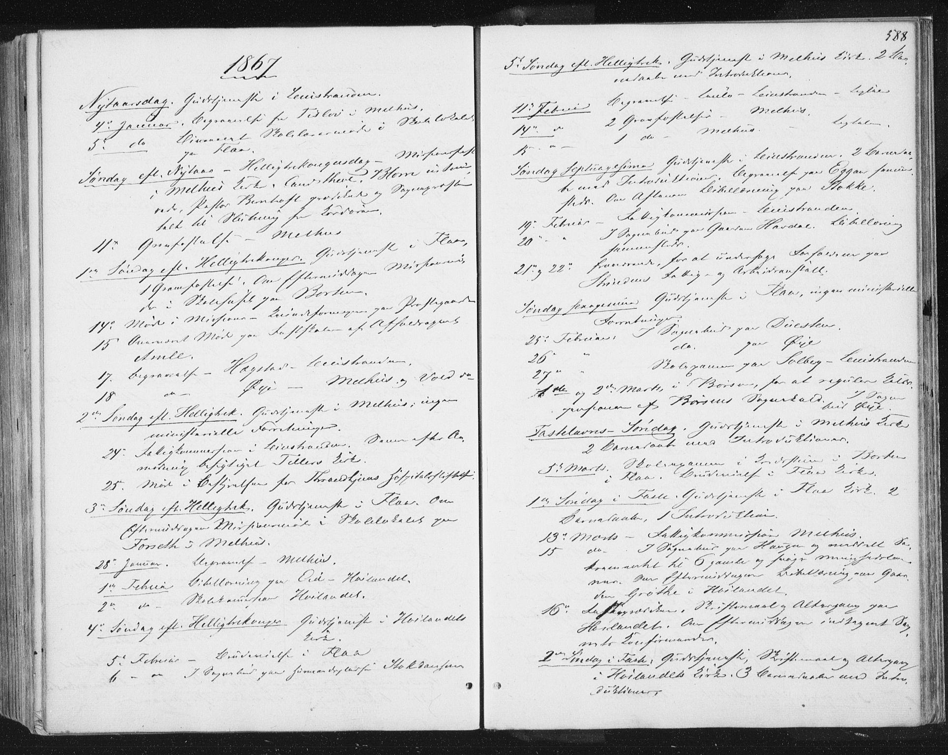 SAT, Ministerialprotokoller, klokkerbøker og fødselsregistre - Sør-Trøndelag, 691/L1077: Ministerialbok nr. 691A09, 1862-1873, s. 588
