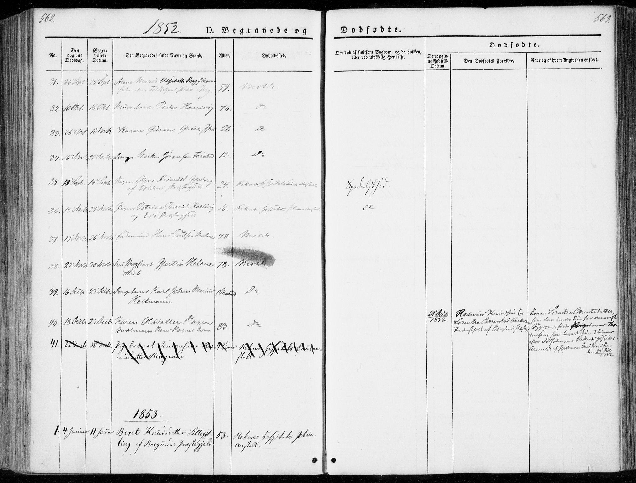 SAT, Ministerialprotokoller, klokkerbøker og fødselsregistre - Møre og Romsdal, 558/L0689: Ministerialbok nr. 558A03, 1843-1872, s. 562-563