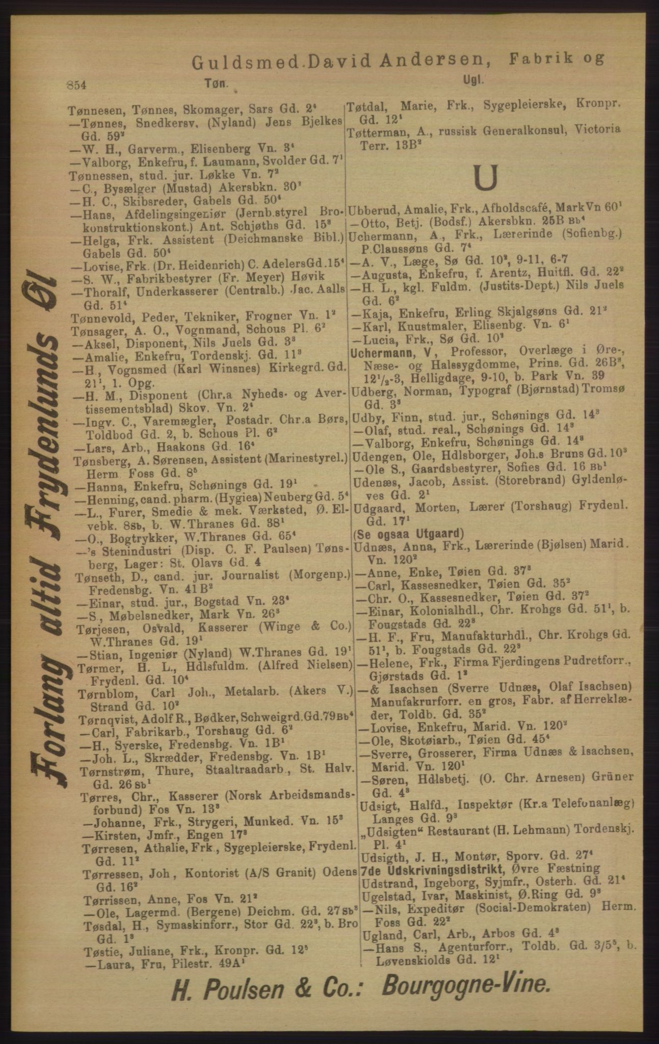 RA, Kristiania adressebok (publikasjon)*, 1906, s. 854