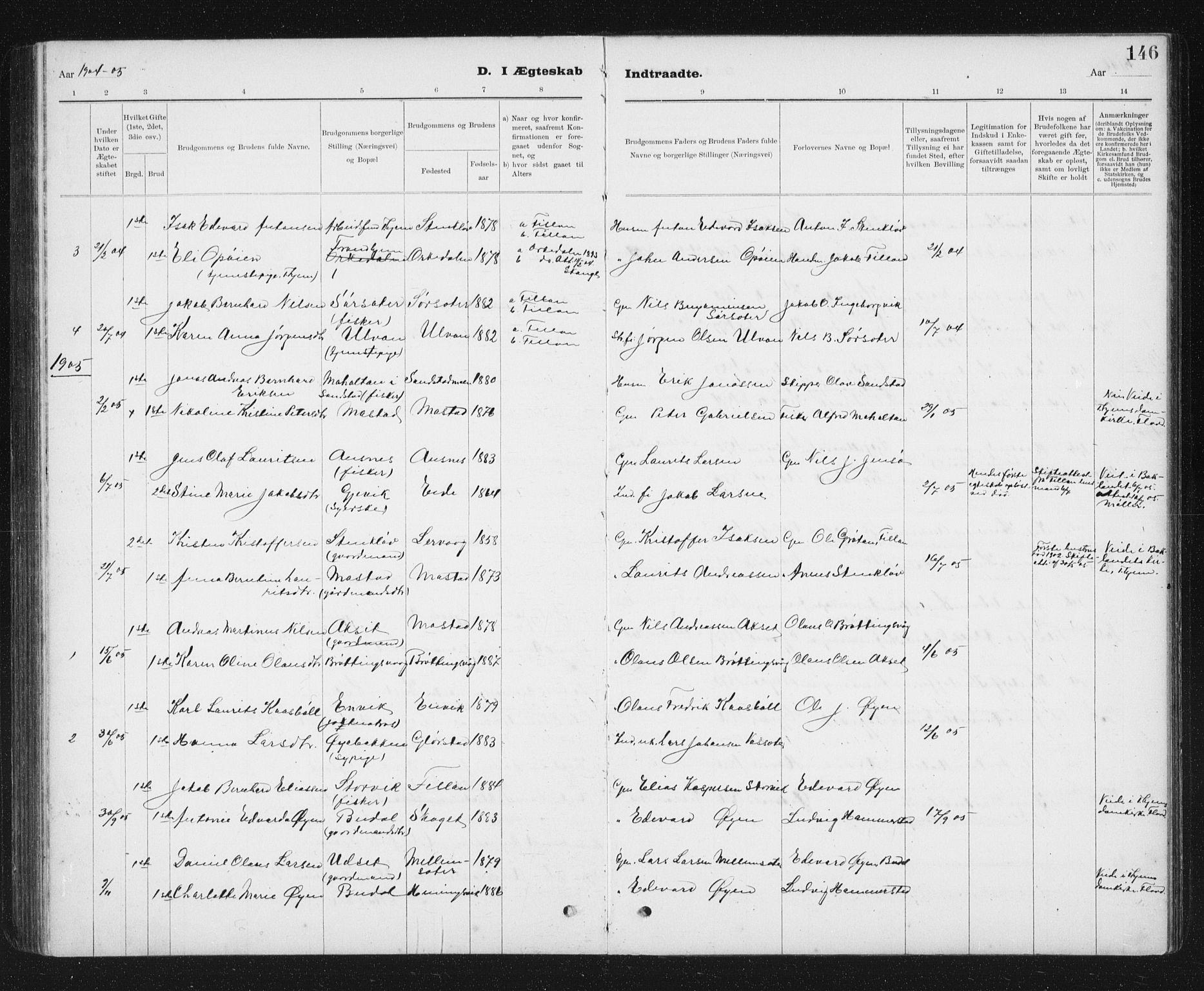 SAT, Ministerialprotokoller, klokkerbøker og fødselsregistre - Sør-Trøndelag, 637/L0563: Klokkerbok nr. 637C04, 1899-1940, s. 146