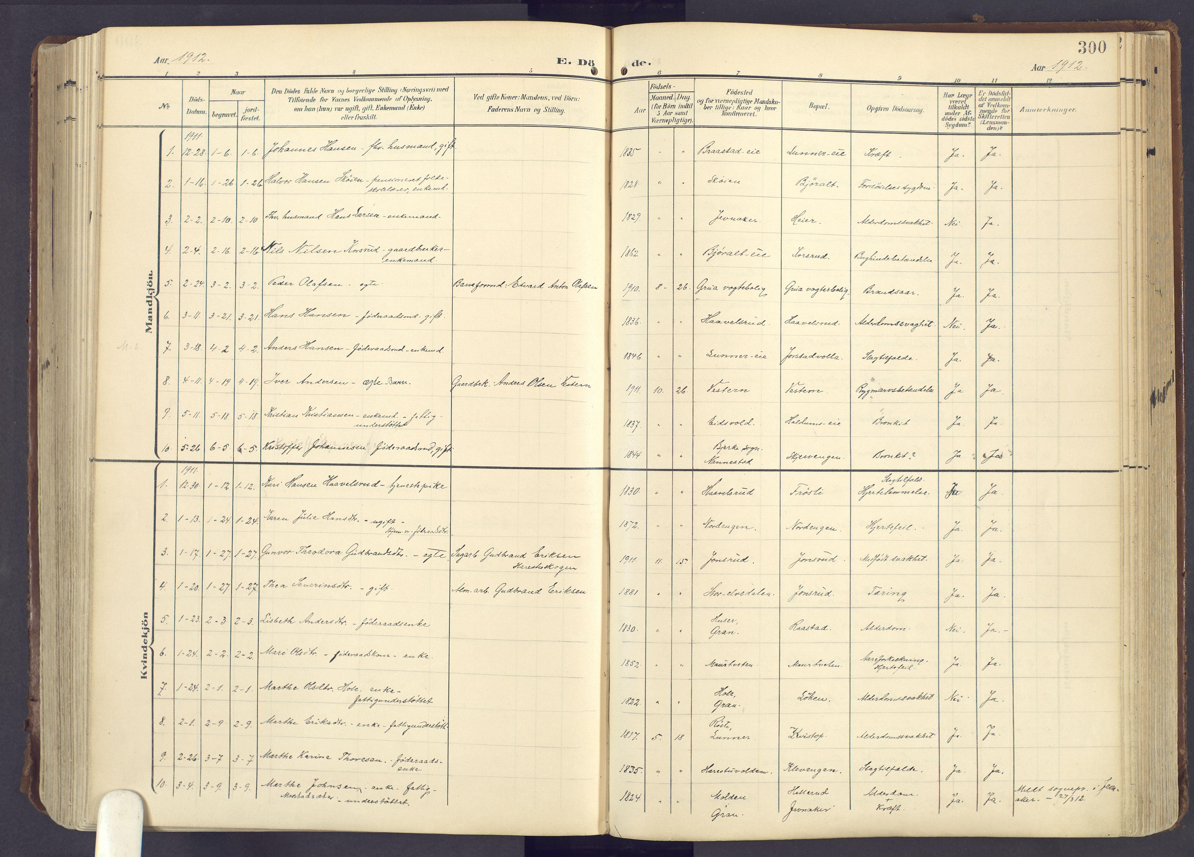 SAH, Lunner prestekontor, H/Ha/Haa/L0001: Ministerialbok nr. 1, 1907-1922, s. 300