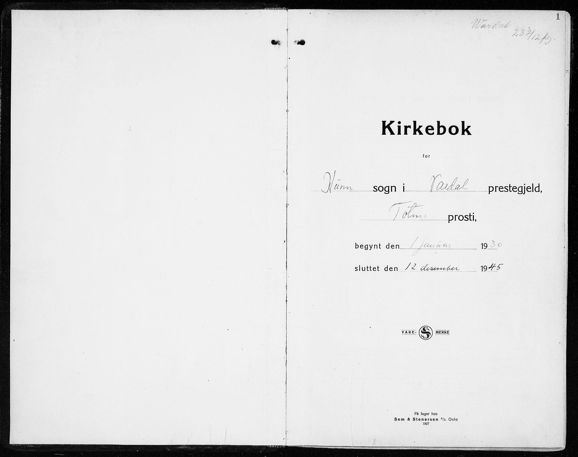 SAH, Vardal prestekontor, H/Ha/Haa/L0018: Ministerialbok nr. 18, 1930-1945, s. 1
