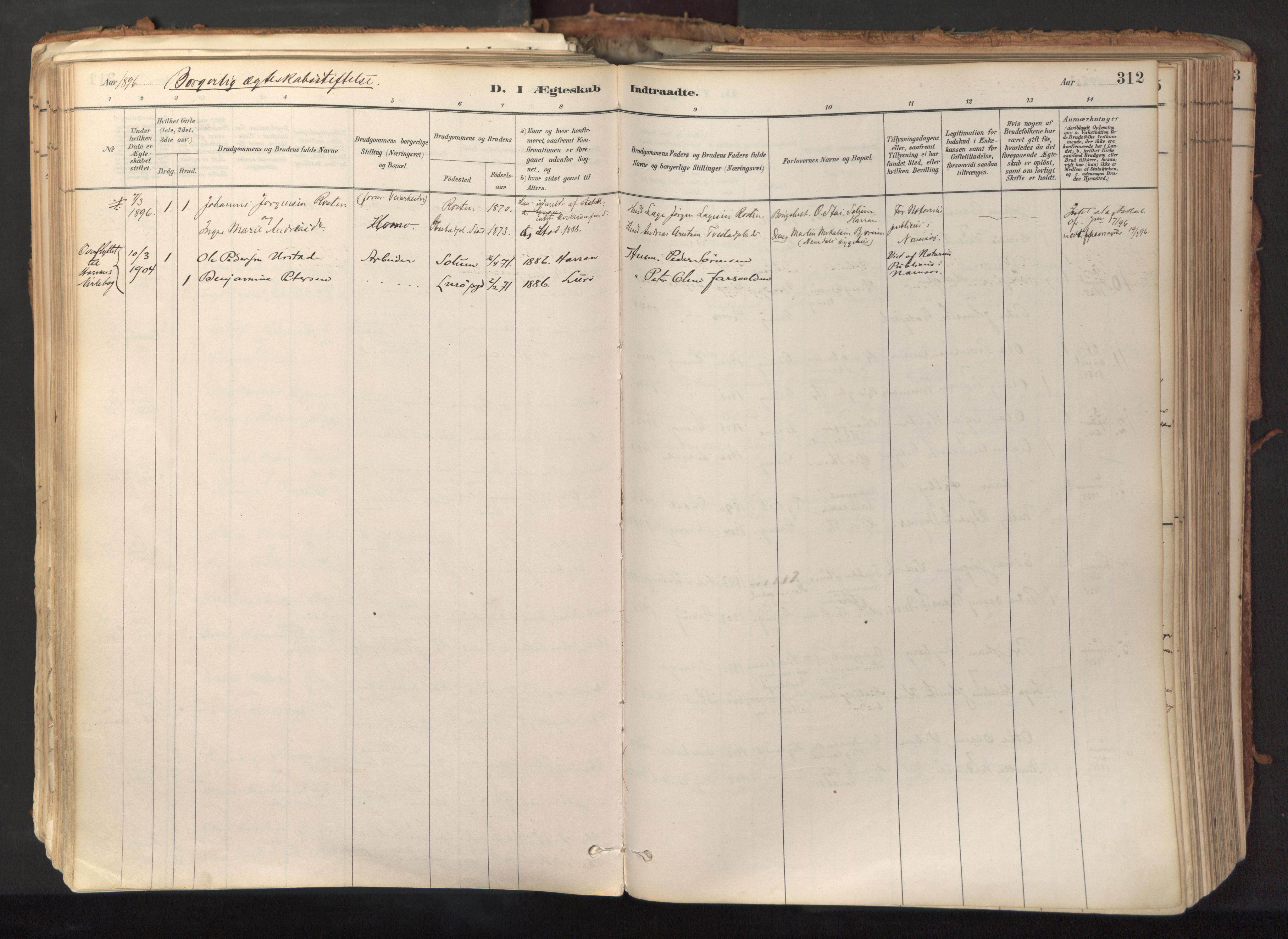 SAT, Ministerialprotokoller, klokkerbøker og fødselsregistre - Nord-Trøndelag, 758/L0519: Ministerialbok nr. 758A04, 1880-1926, s. 312