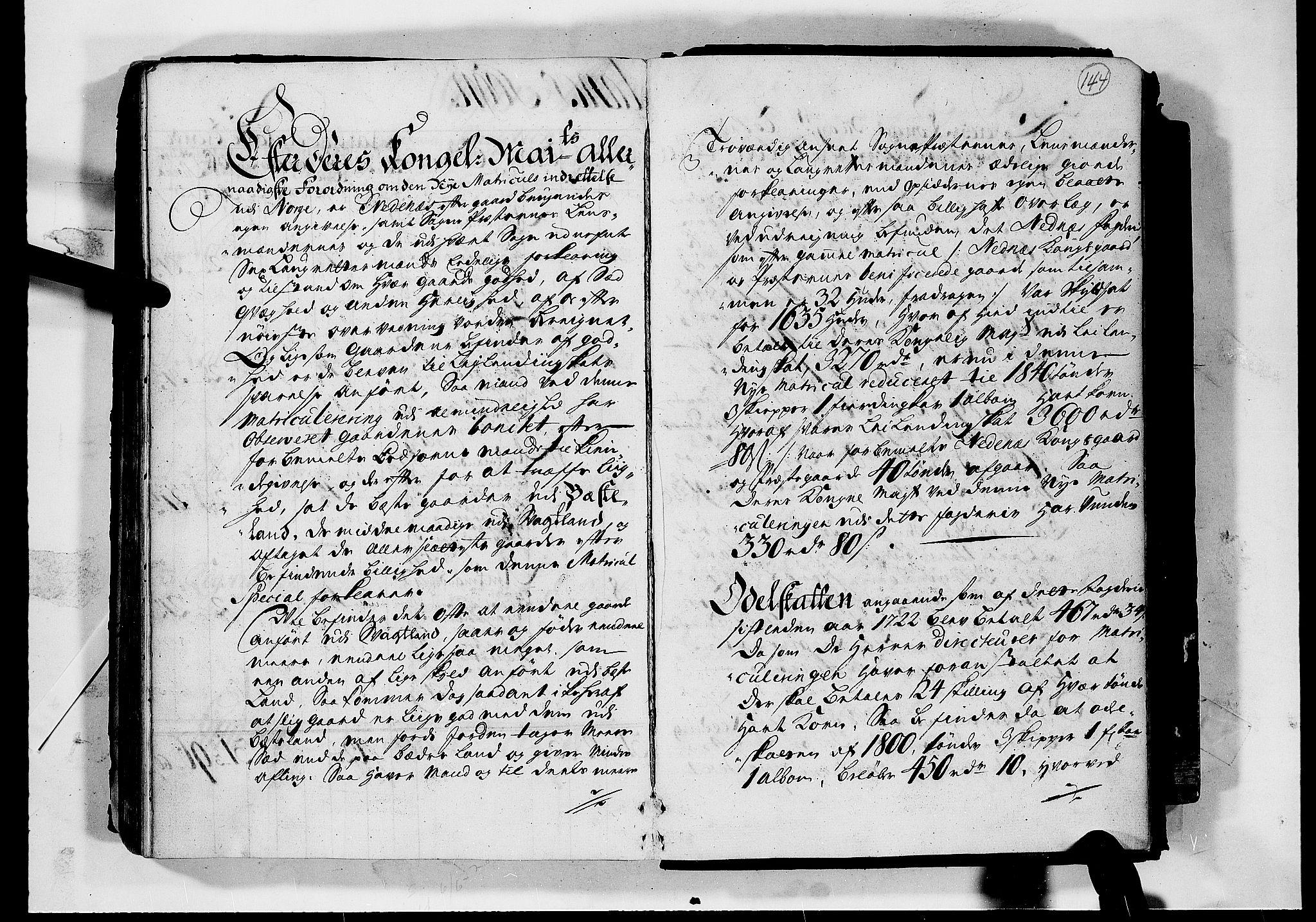 RA, Rentekammeret inntil 1814, Realistisk ordnet avdeling, N/Nb/Nbf/L0124: Nedenes matrikkelprotokoll, 1723, s. 143b-144a