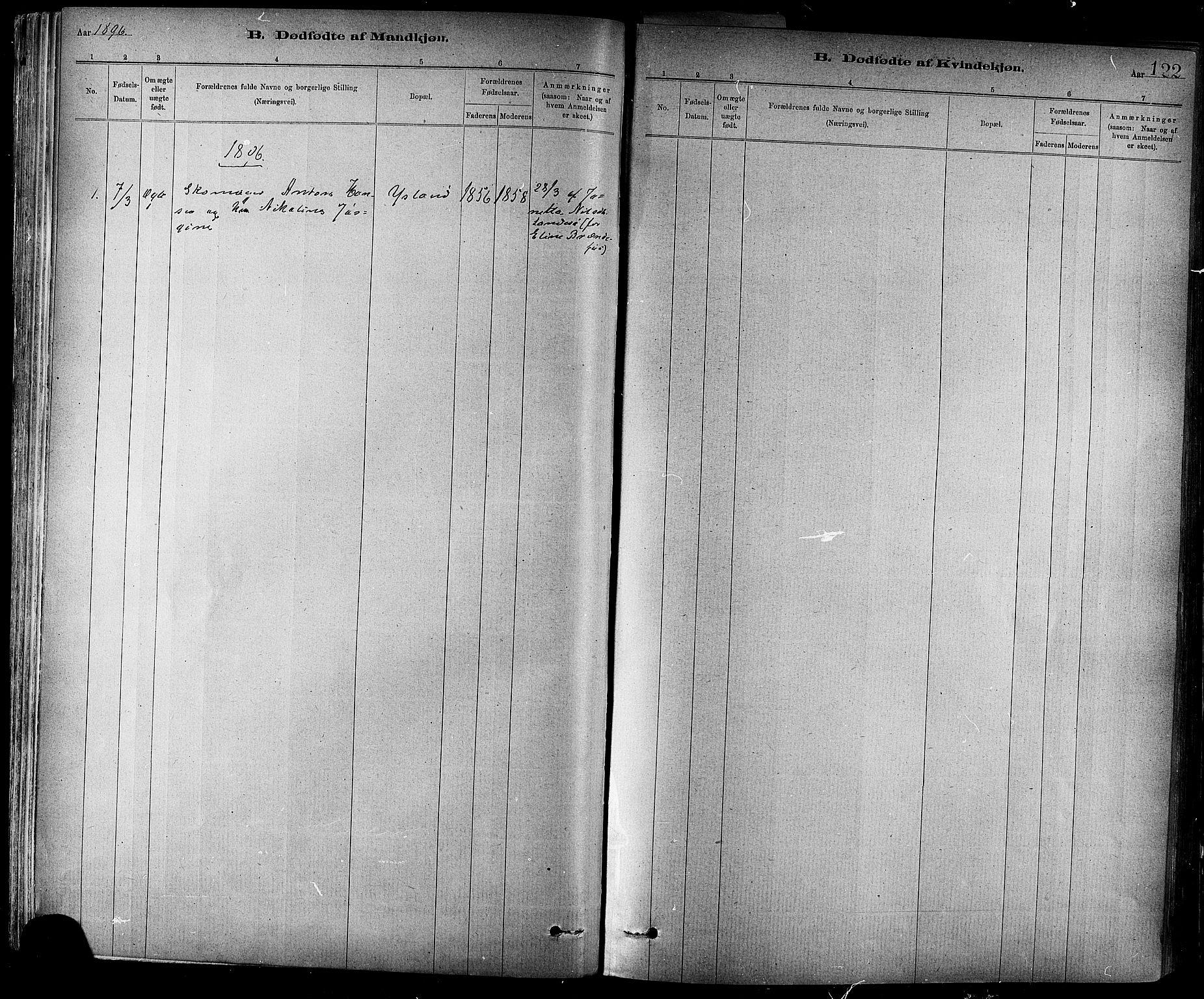 SAT, Ministerialprotokoller, klokkerbøker og fødselsregistre - Sør-Trøndelag, 647/L0634: Ministerialbok nr. 647A01, 1885-1896, s. 122