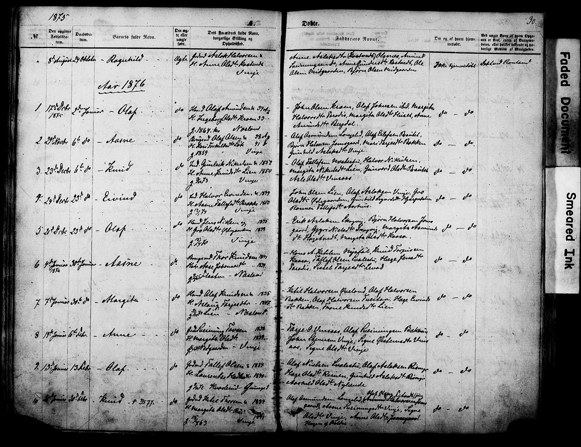 SAKO, Vinje kirkebøker, F/Fa/L0005: Ministerialbok nr. I 5, 1870-1886, s. 30