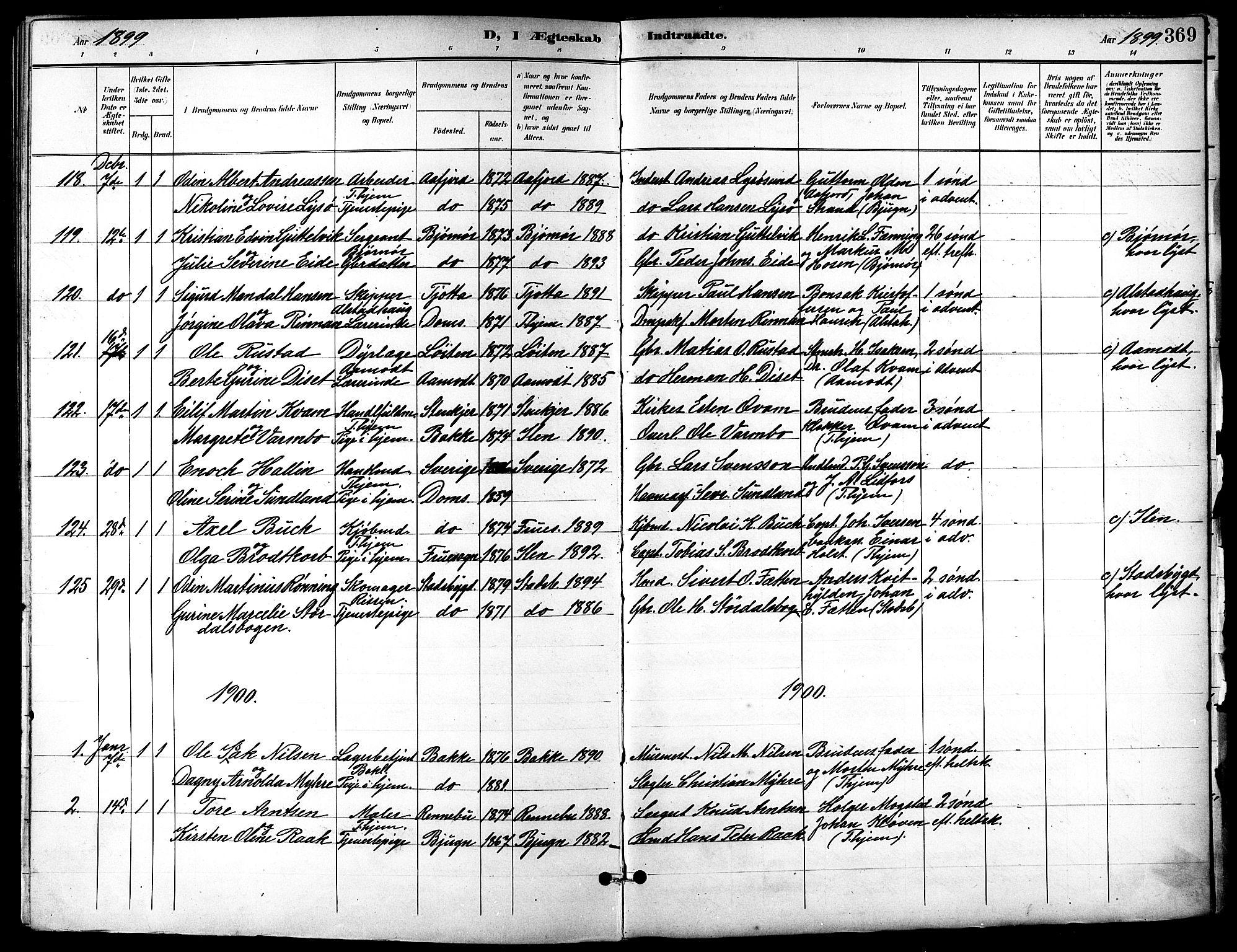 SAT, Ministerialprotokoller, klokkerbøker og fødselsregistre - Sør-Trøndelag, 601/L0094: Klokkerbok nr. 601C12, 1898-1911, s. 369