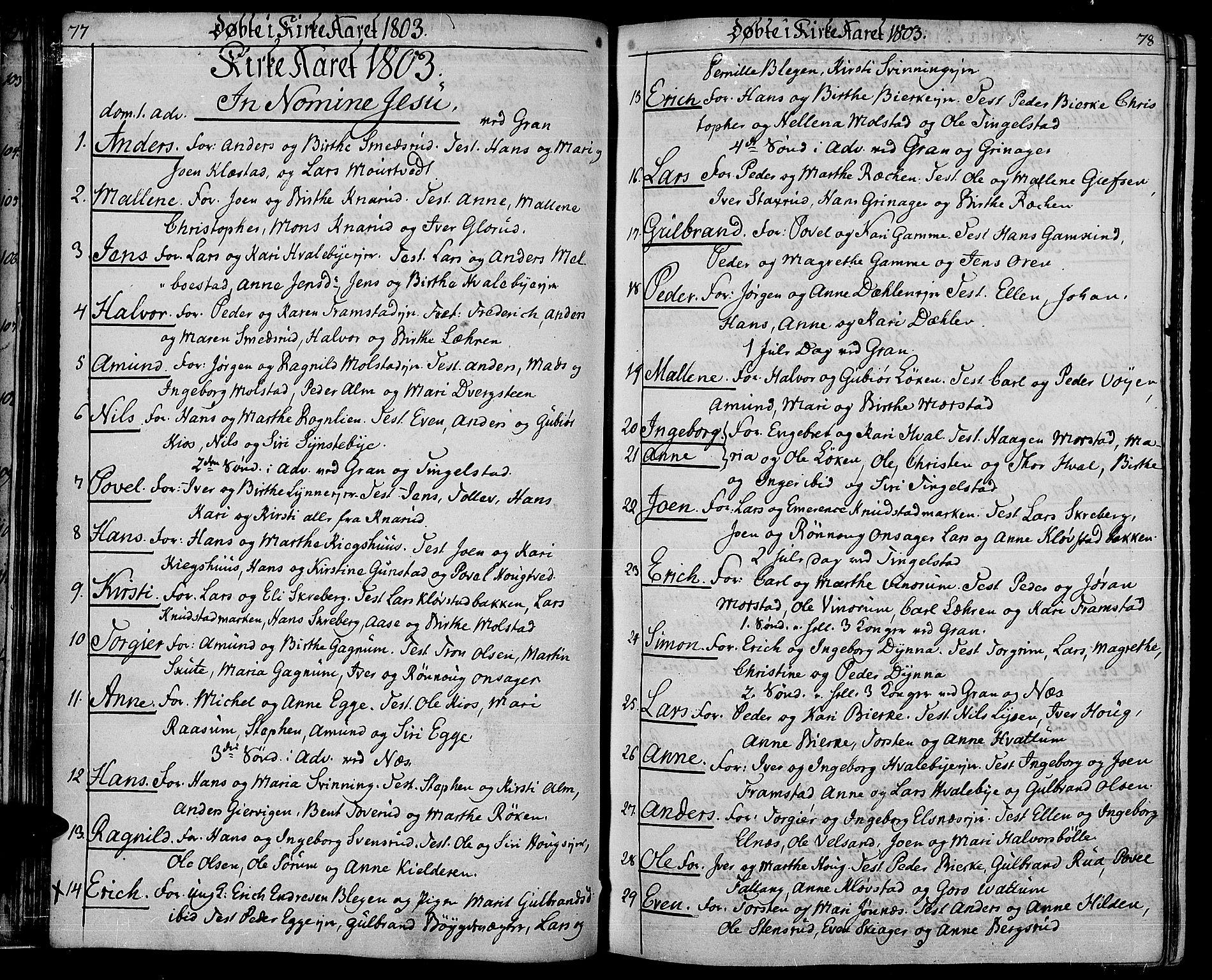 SAH, Gran prestekontor, Ministerialbok nr. 8, 1798-1811, s. 77-78