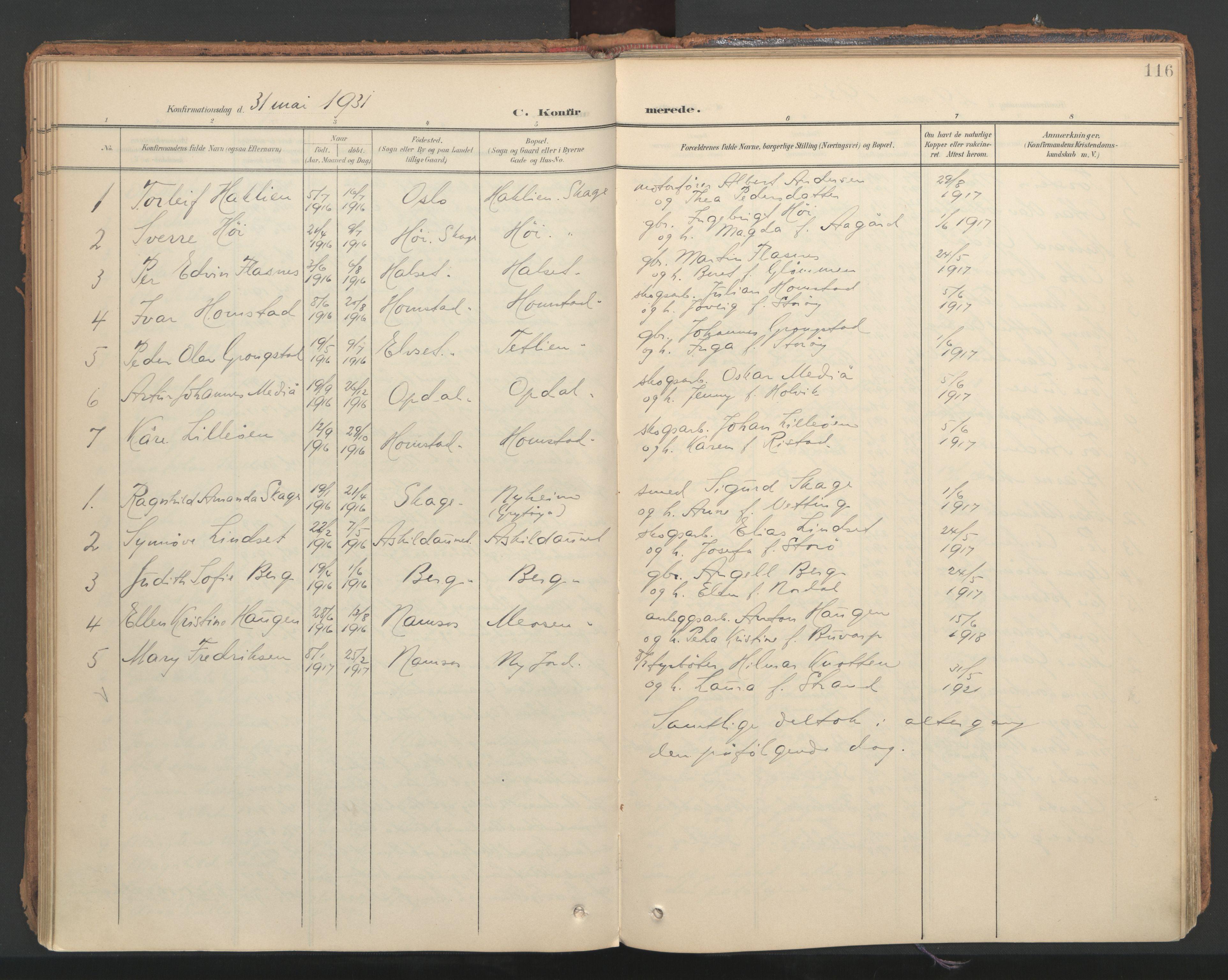 SAT, Ministerialprotokoller, klokkerbøker og fødselsregistre - Nord-Trøndelag, 766/L0564: Ministerialbok nr. 767A02, 1900-1932, s. 116