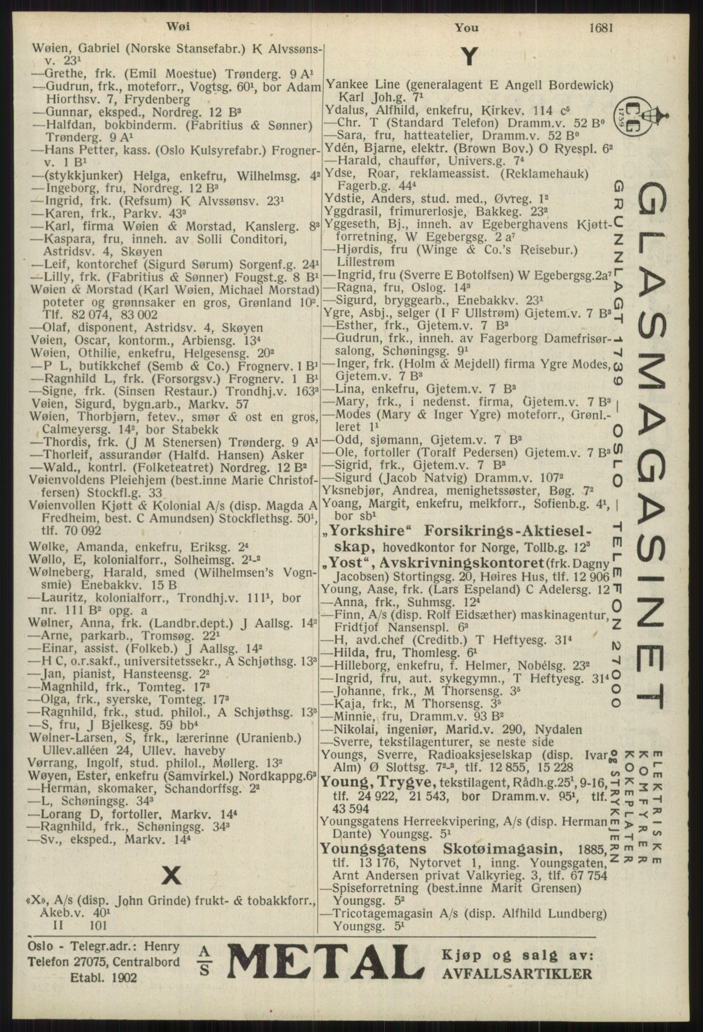 RA, Oslo adressebok (publikasjon)*, 1939, s. 1681