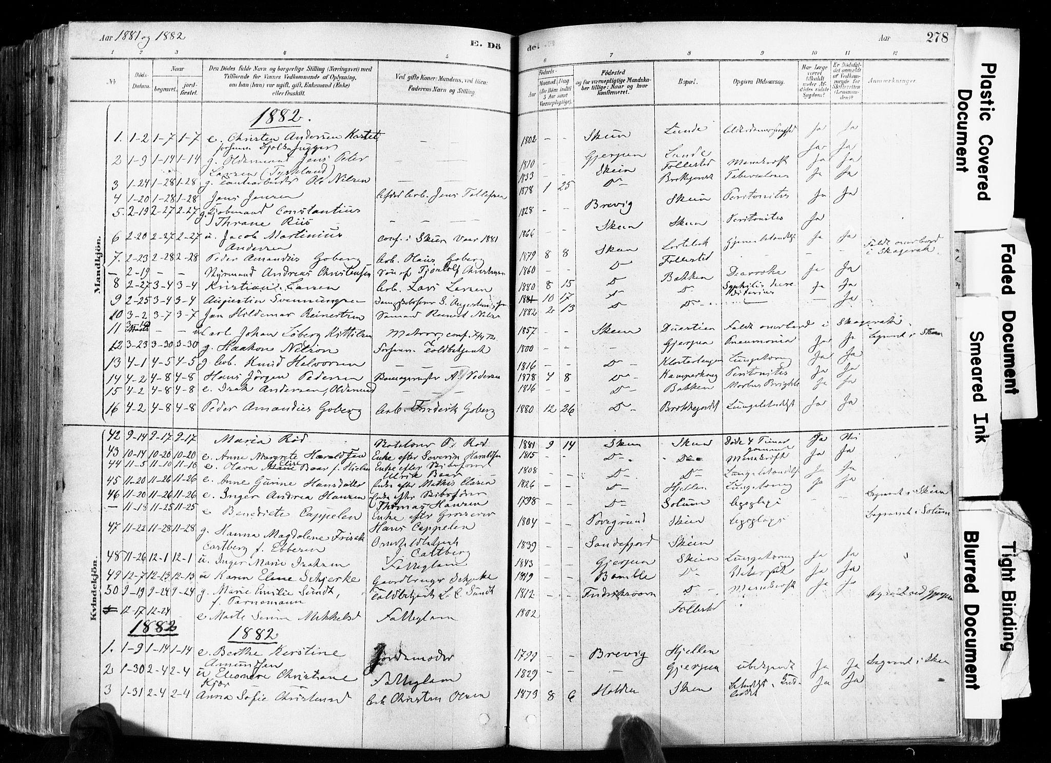 SAKO, Skien kirkebøker, F/Fa/L0009: Ministerialbok nr. 9, 1878-1890, s. 278