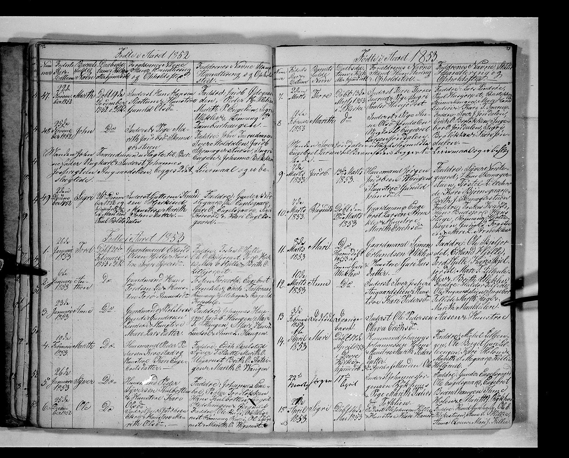SAH, Lesja prestekontor, Klokkerbok nr. 3, 1842-1862, s. 72-73