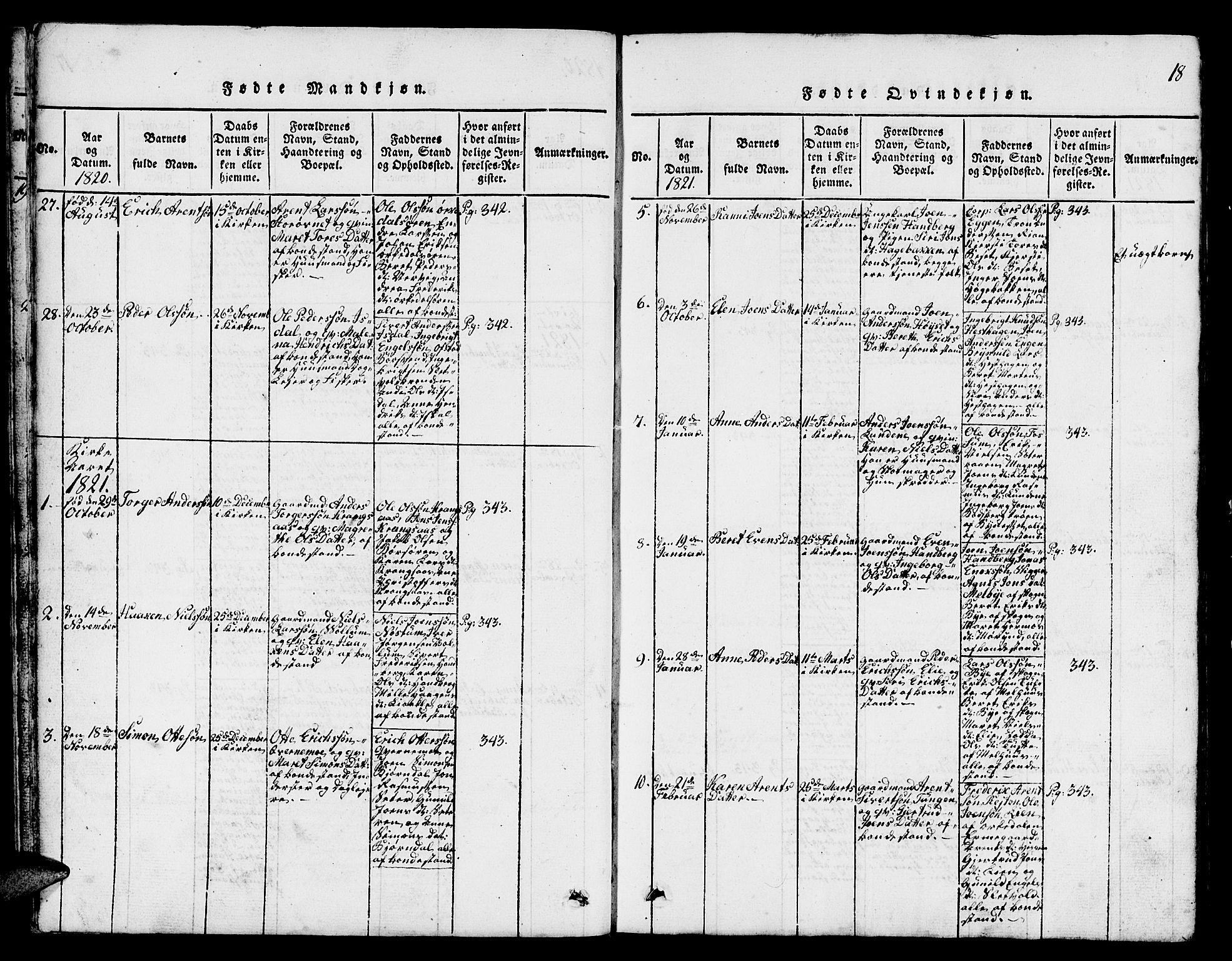 SAT, Ministerialprotokoller, klokkerbøker og fødselsregistre - Sør-Trøndelag, 665/L0776: Klokkerbok nr. 665C01, 1817-1837, s. 18