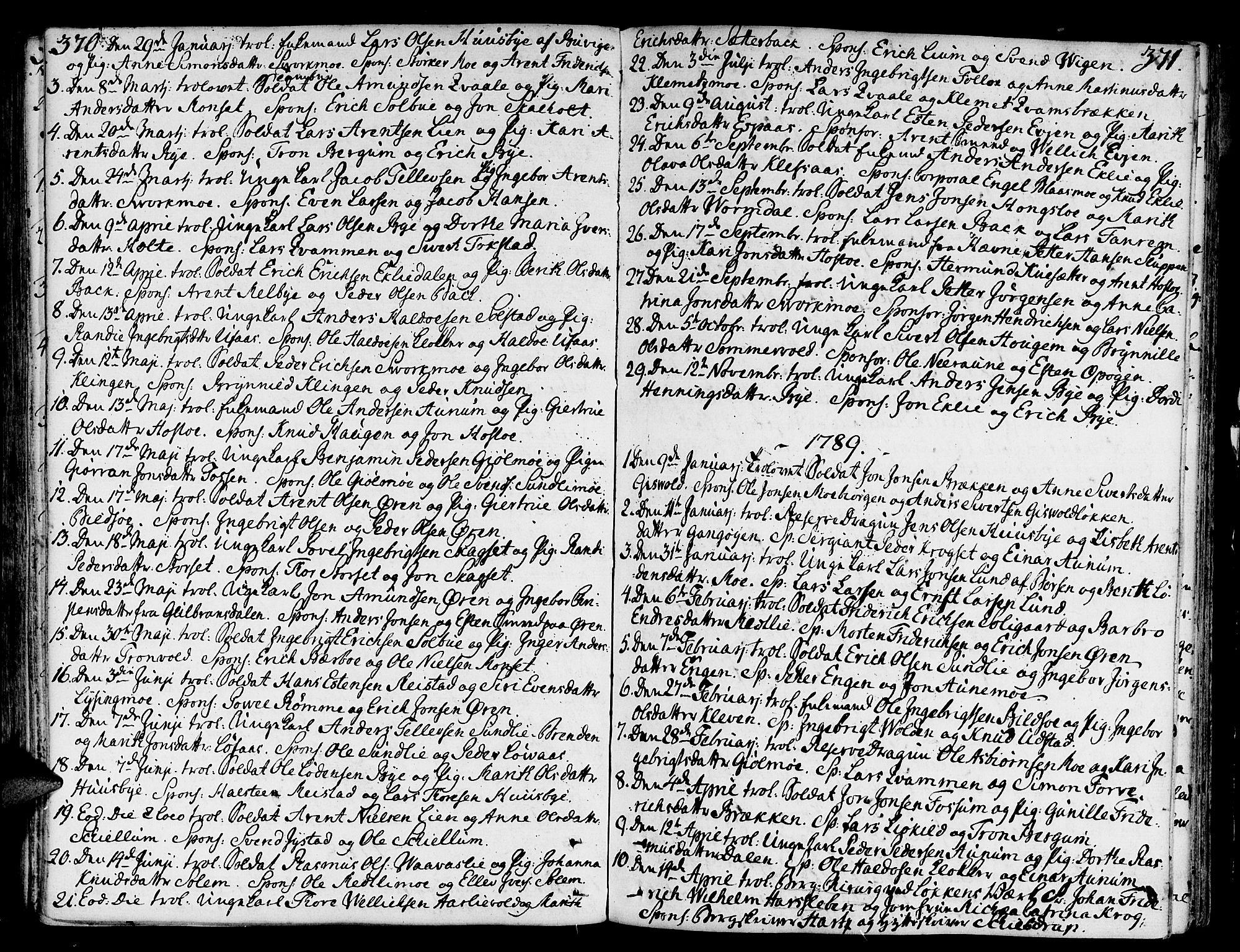 SAT, Ministerialprotokoller, klokkerbøker og fødselsregistre - Sør-Trøndelag, 668/L0802: Ministerialbok nr. 668A02, 1776-1799, s. 370-371