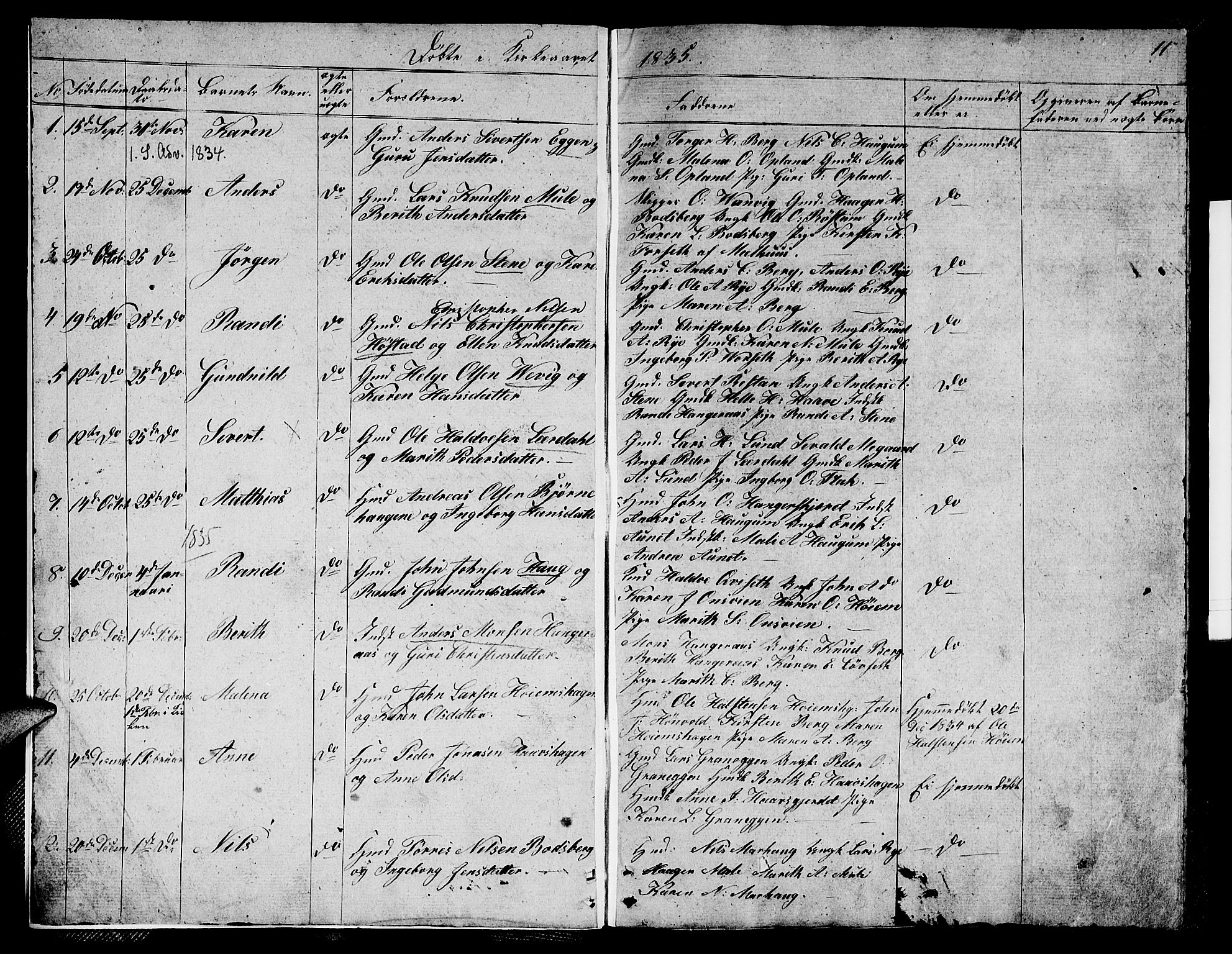 SAT, Ministerialprotokoller, klokkerbøker og fødselsregistre - Sør-Trøndelag, 612/L0386: Klokkerbok nr. 612C02, 1834-1845, s. 11
