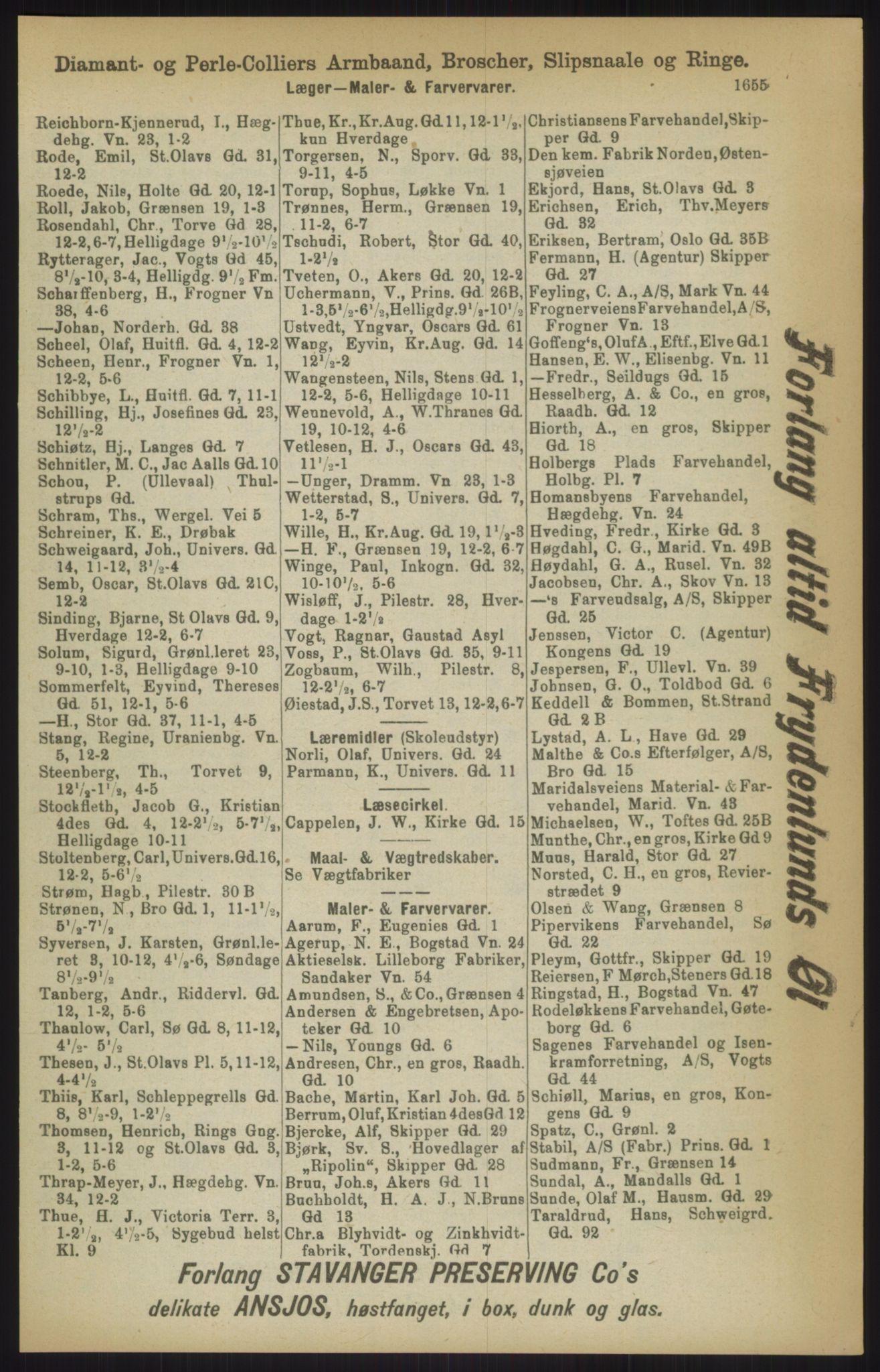 RA, Kristiania adressebok (publikasjon)*, 1911, s. 1655