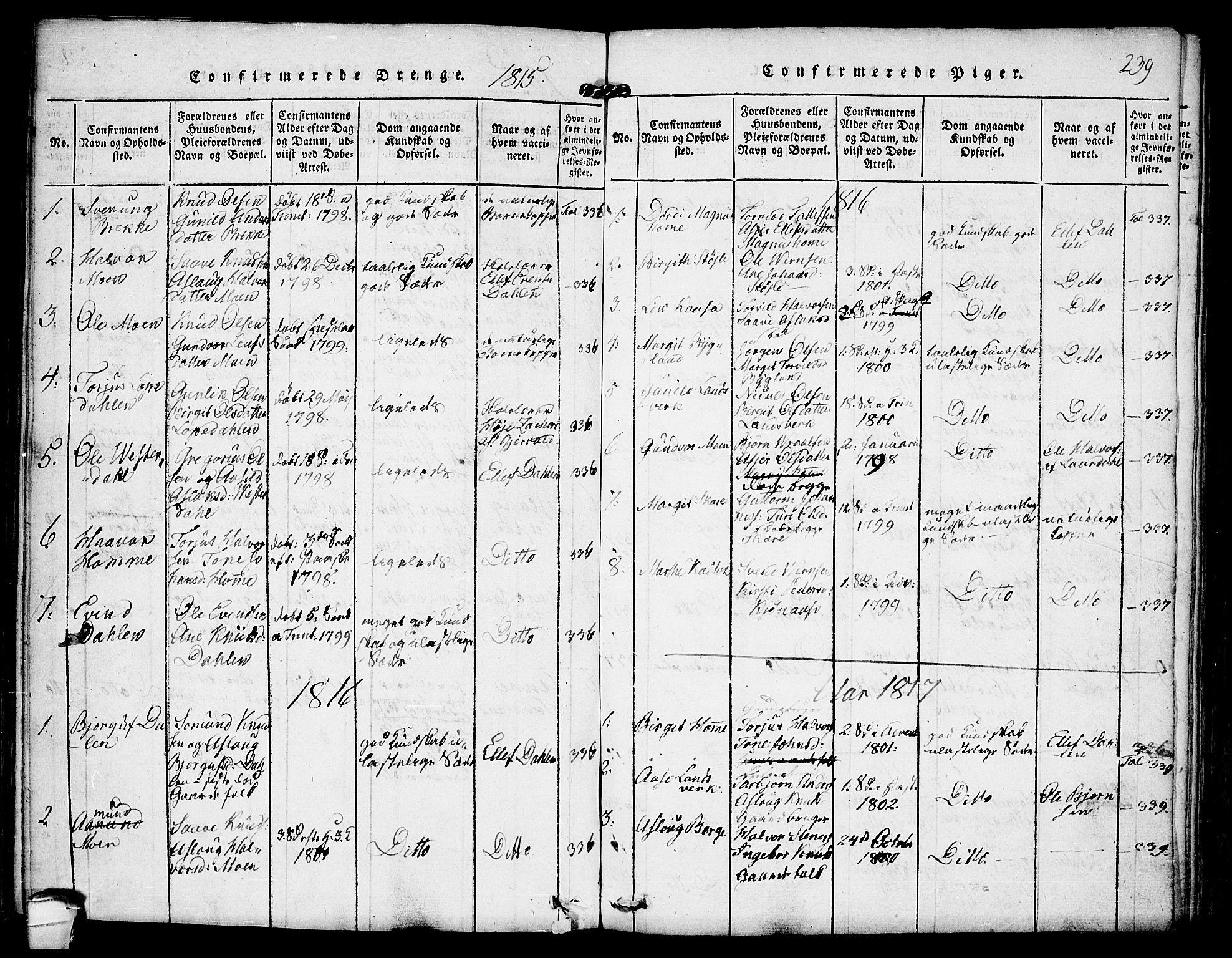 SAKO, Kviteseid kirkebøker, F/Fb/L0001: Ministerialbok nr. II 1, 1815-1836, s. 239