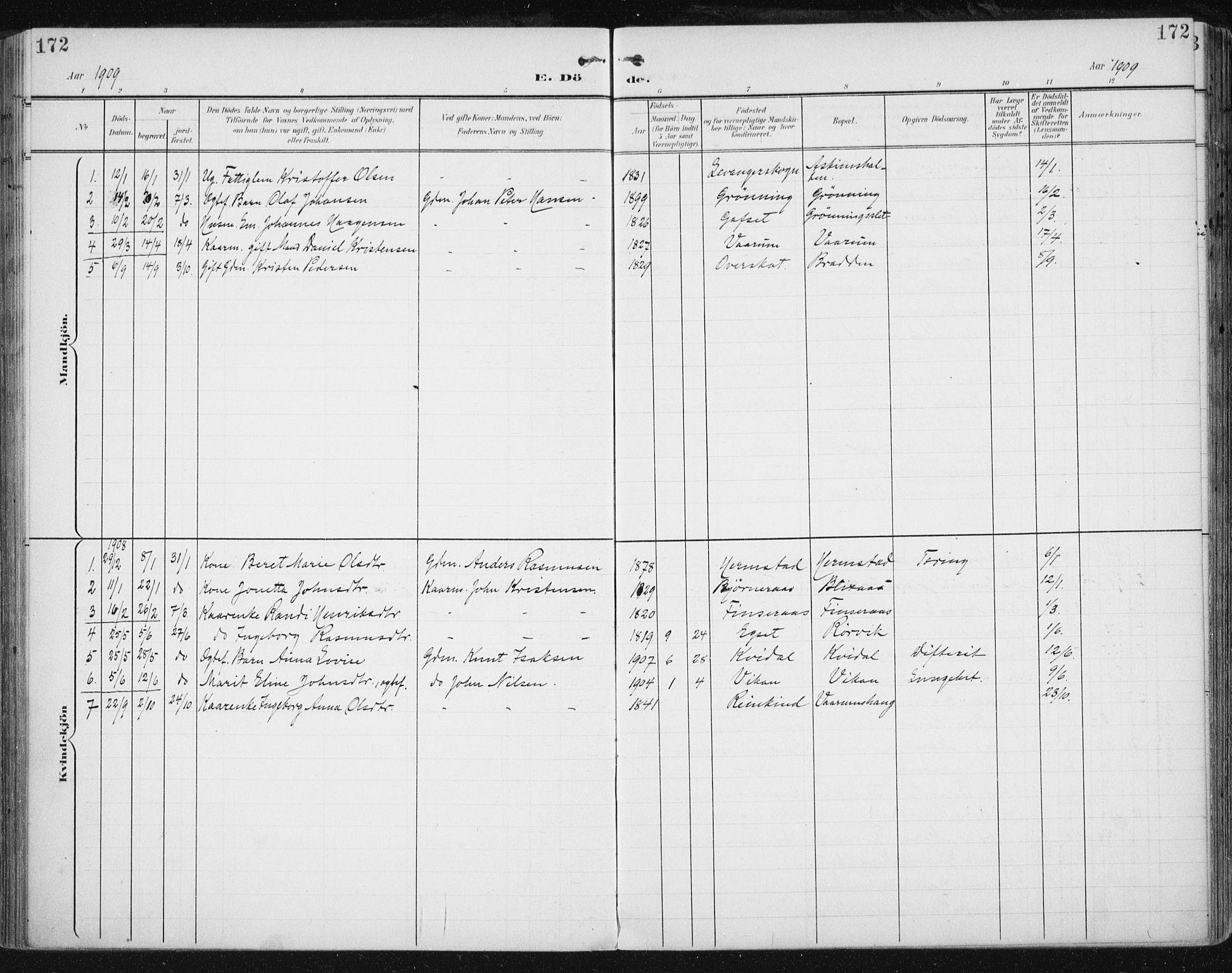SAT, Ministerialprotokoller, klokkerbøker og fødselsregistre - Sør-Trøndelag, 646/L0616: Ministerialbok nr. 646A14, 1900-1918, s. 172