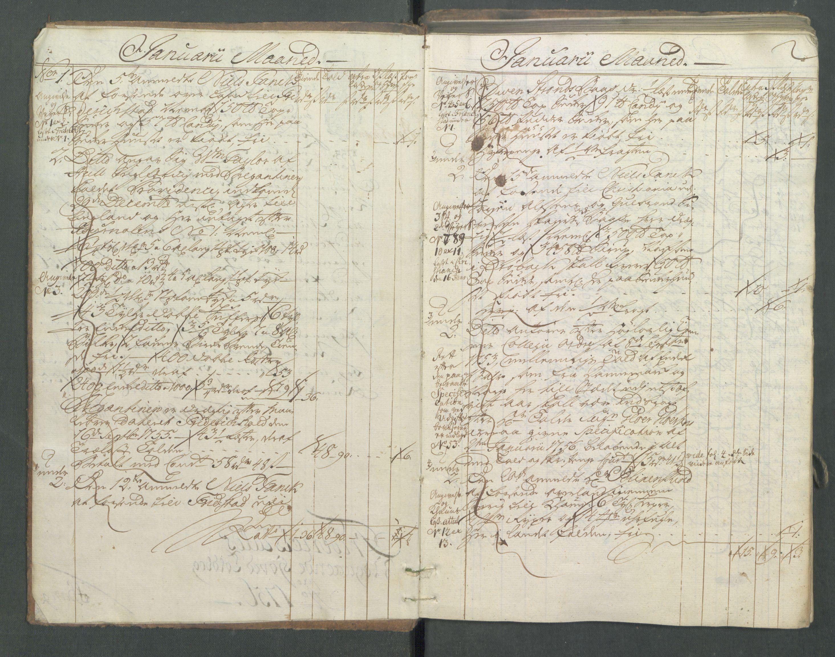 RA, Generaltollkammeret, tollregnskaper, R01/L0029: Tollregnskaper Fredrikshald, 1756, s. 1b-2a