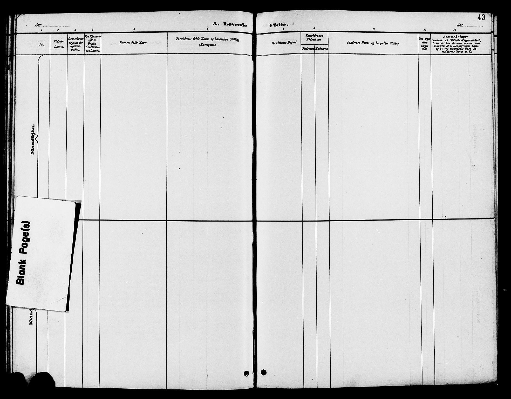 SAH, Nord-Aurdal prestekontor, Klokkerbok nr. 10, 1892-1907, s. 43