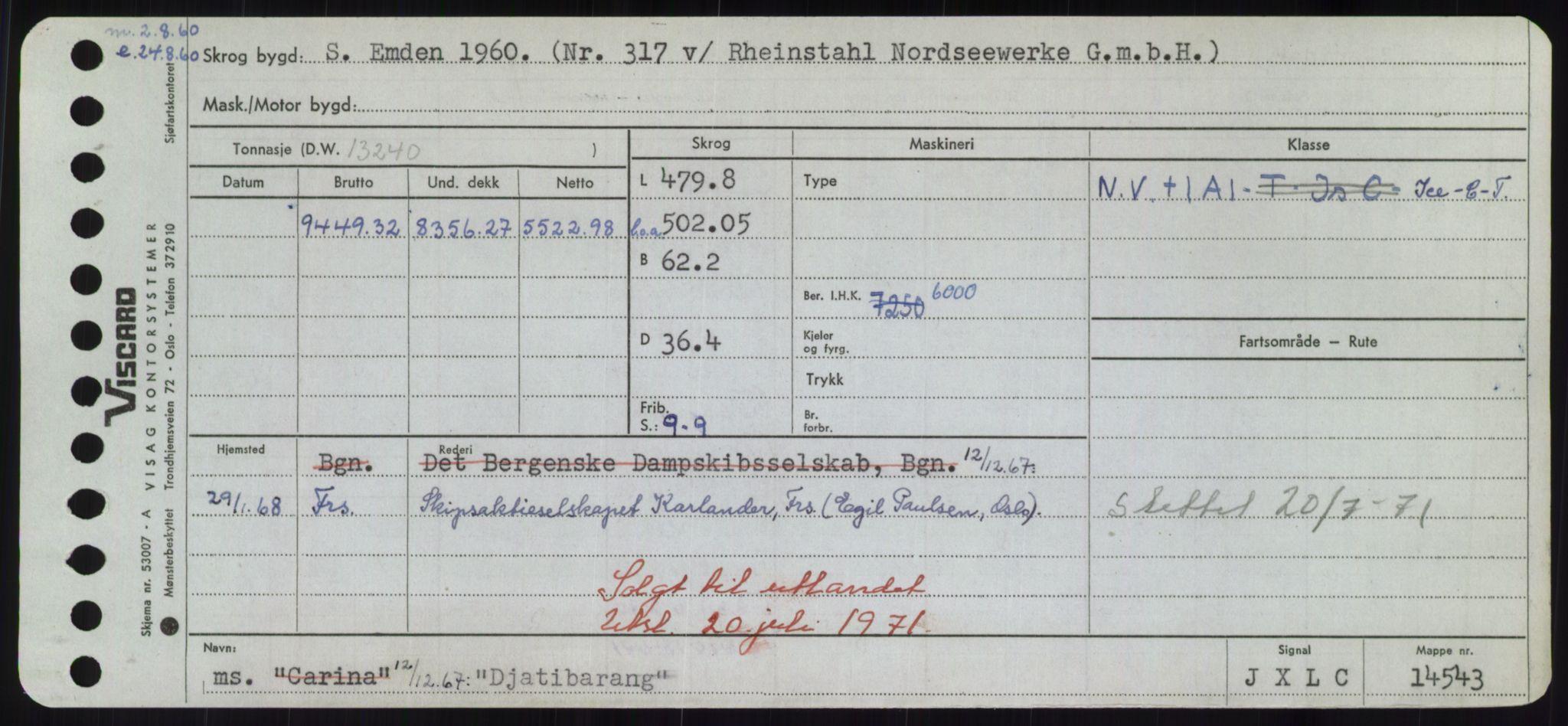 RA, Sjøfartsdirektoratet med forløpere, Skipsmålingen, H/Hd/L0008: Fartøy, C-D, s. 535