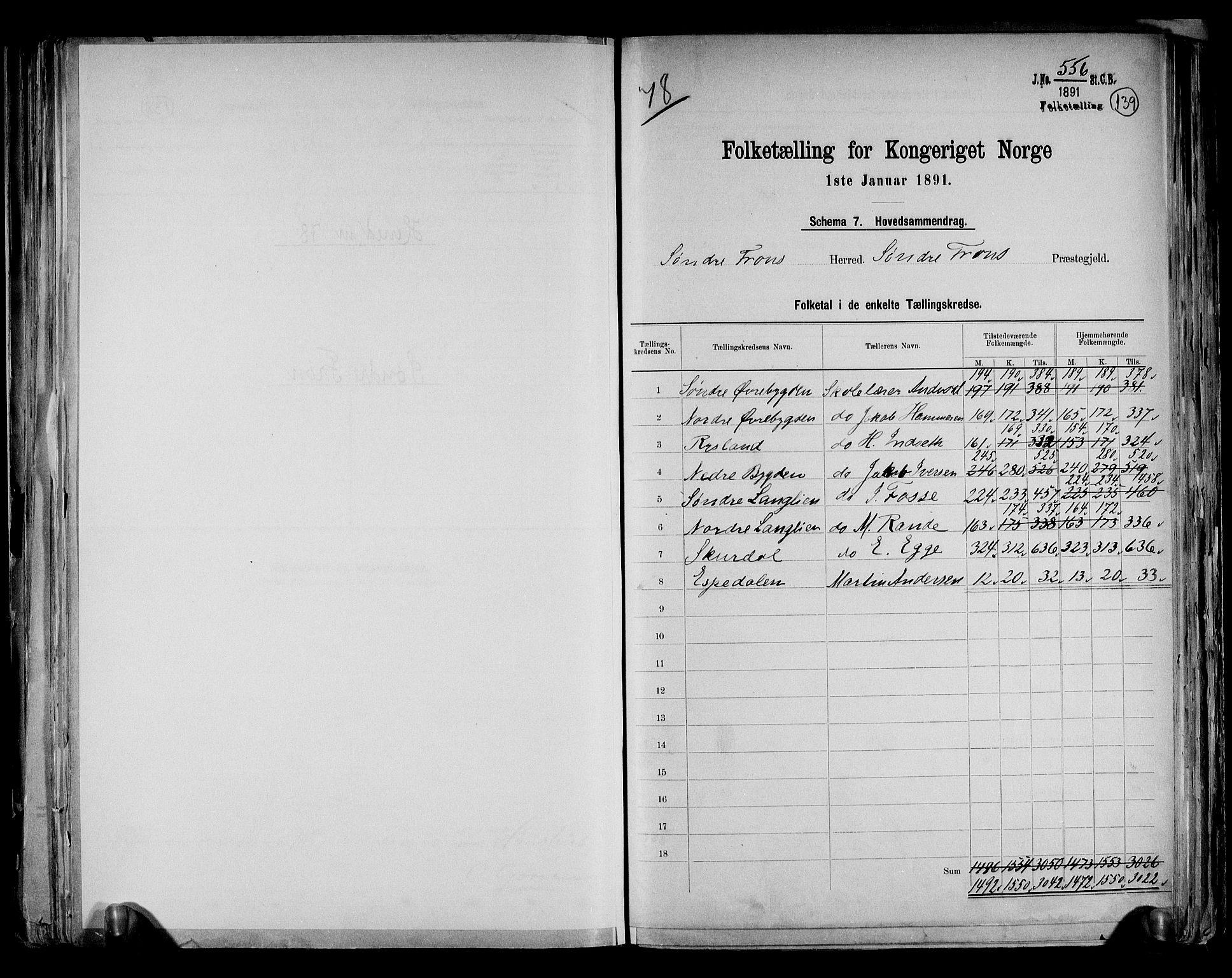 RA, Folketelling 1891 for 0519 Sør-Fron herred, 1891, s. 2