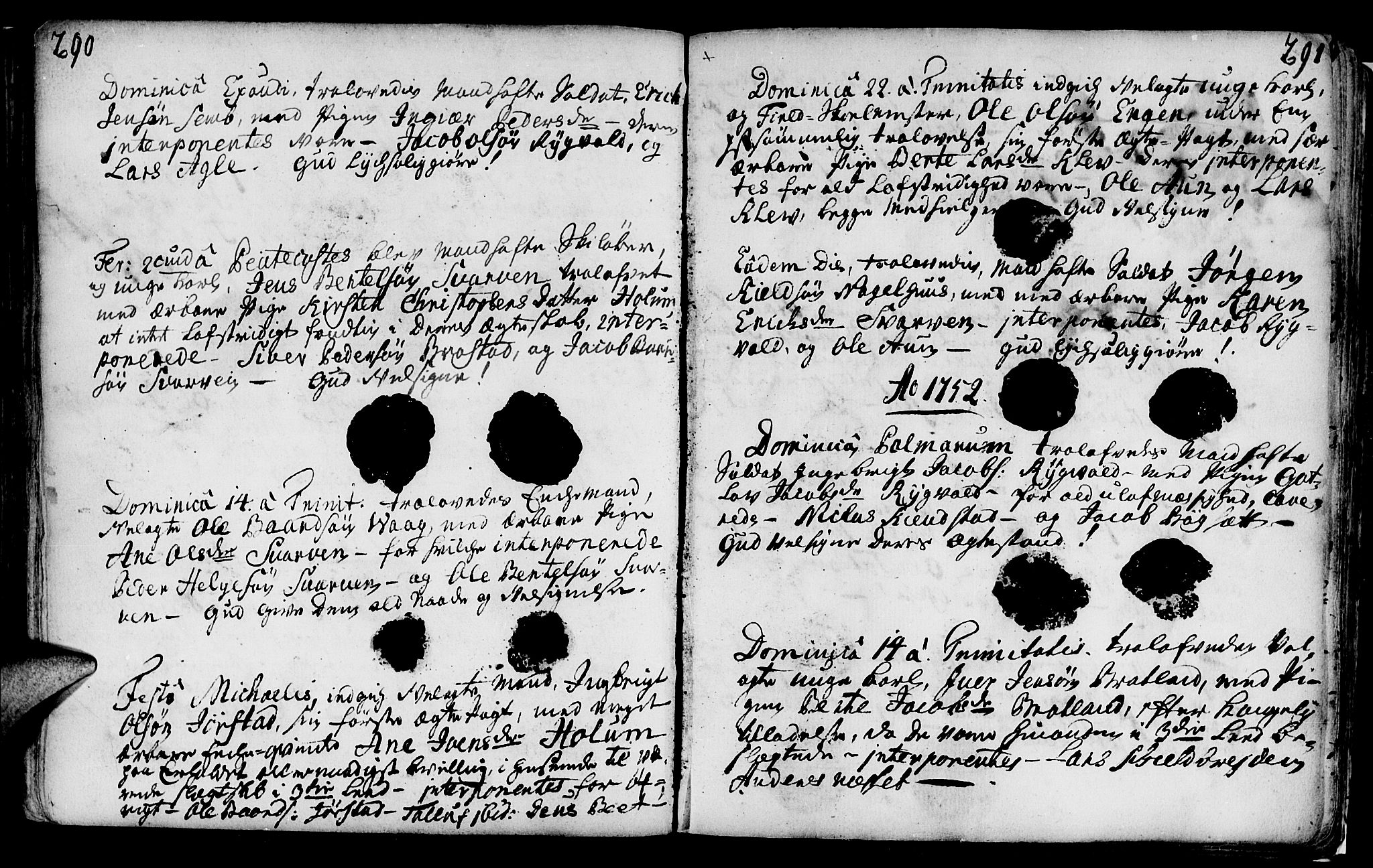 SAT, Ministerialprotokoller, klokkerbøker og fødselsregistre - Nord-Trøndelag, 749/L0467: Ministerialbok nr. 749A01, 1733-1787, s. 290-291