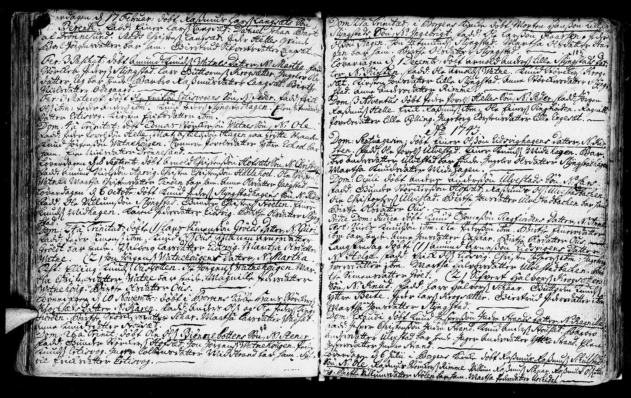 SAT, Ministerialprotokoller, klokkerbøker og fødselsregistre - Møre og Romsdal, 525/L0371: Ministerialbok nr. 525A01, 1699-1777, s. 105