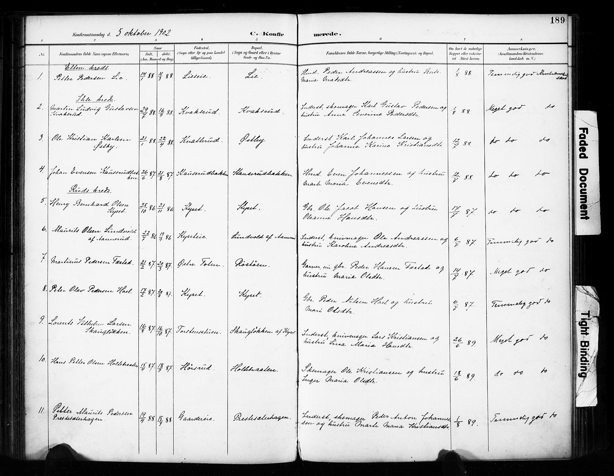 SAH, Vestre Toten prestekontor, H/Ha/Haa/L0011: Ministerialbok nr. 11, 1895-1906, s. 189