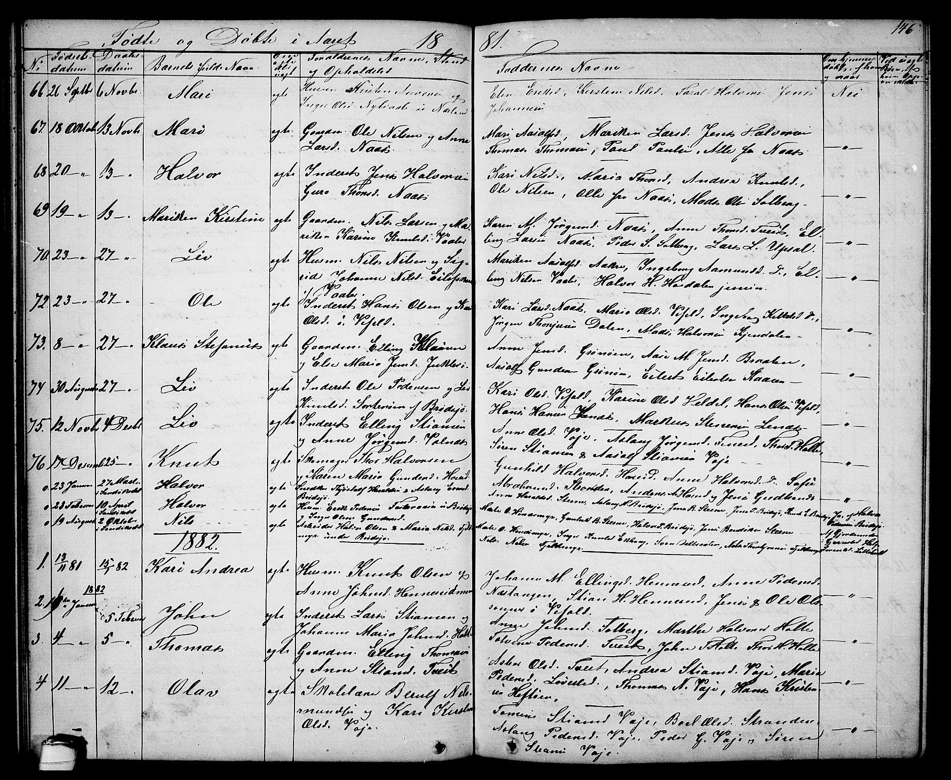 SAKO, Drangedal kirkebøker, G/Ga/L0002: Klokkerbok nr. I 2, 1856-1887, s. 146