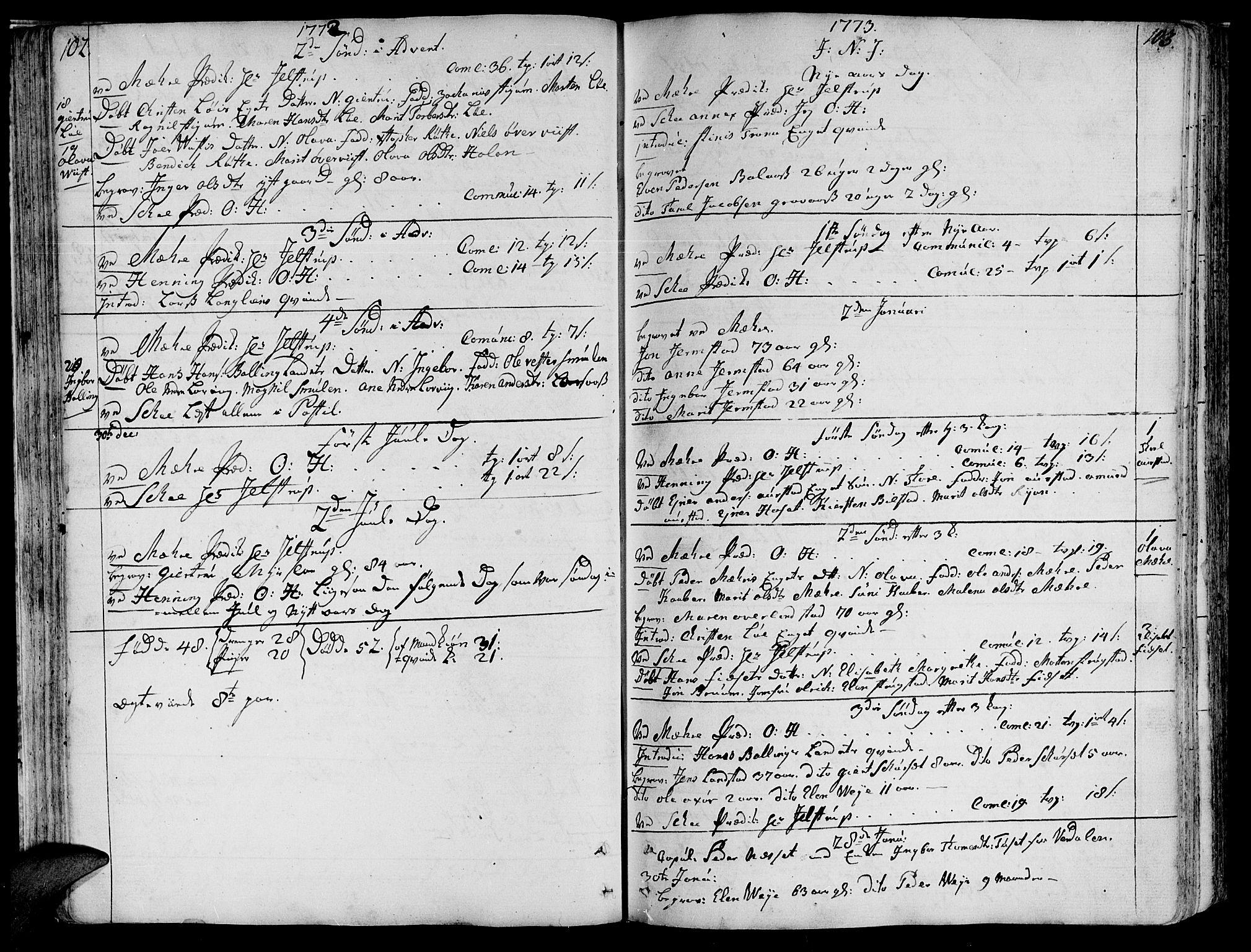 SAT, Ministerialprotokoller, klokkerbøker og fødselsregistre - Nord-Trøndelag, 735/L0331: Ministerialbok nr. 735A02, 1762-1794, s. 102-103